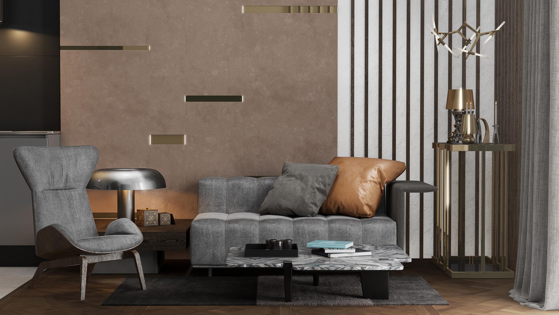 gold and wood apartment interior design