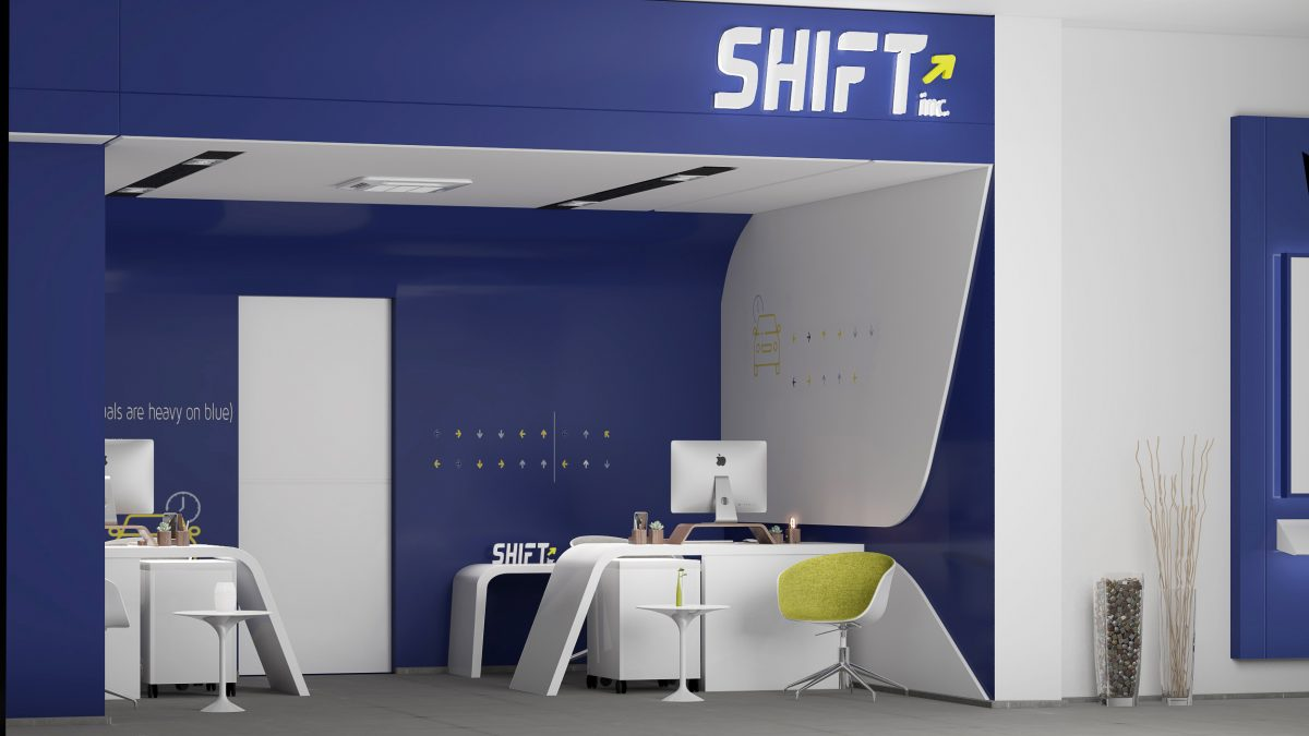 shift jeddah in KSA modern blue design with simple straight lines