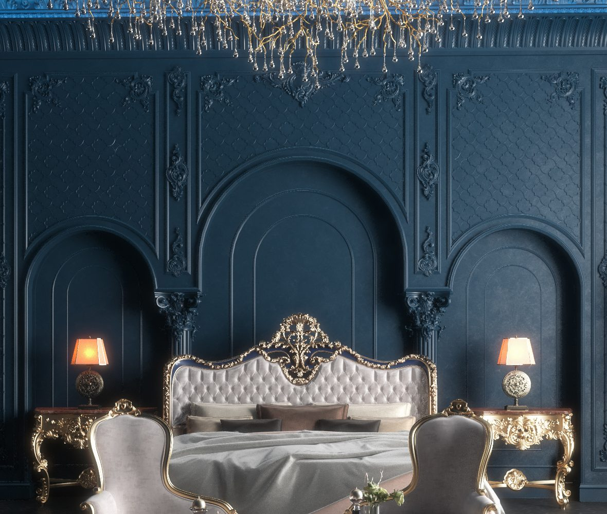 classic bed room blue