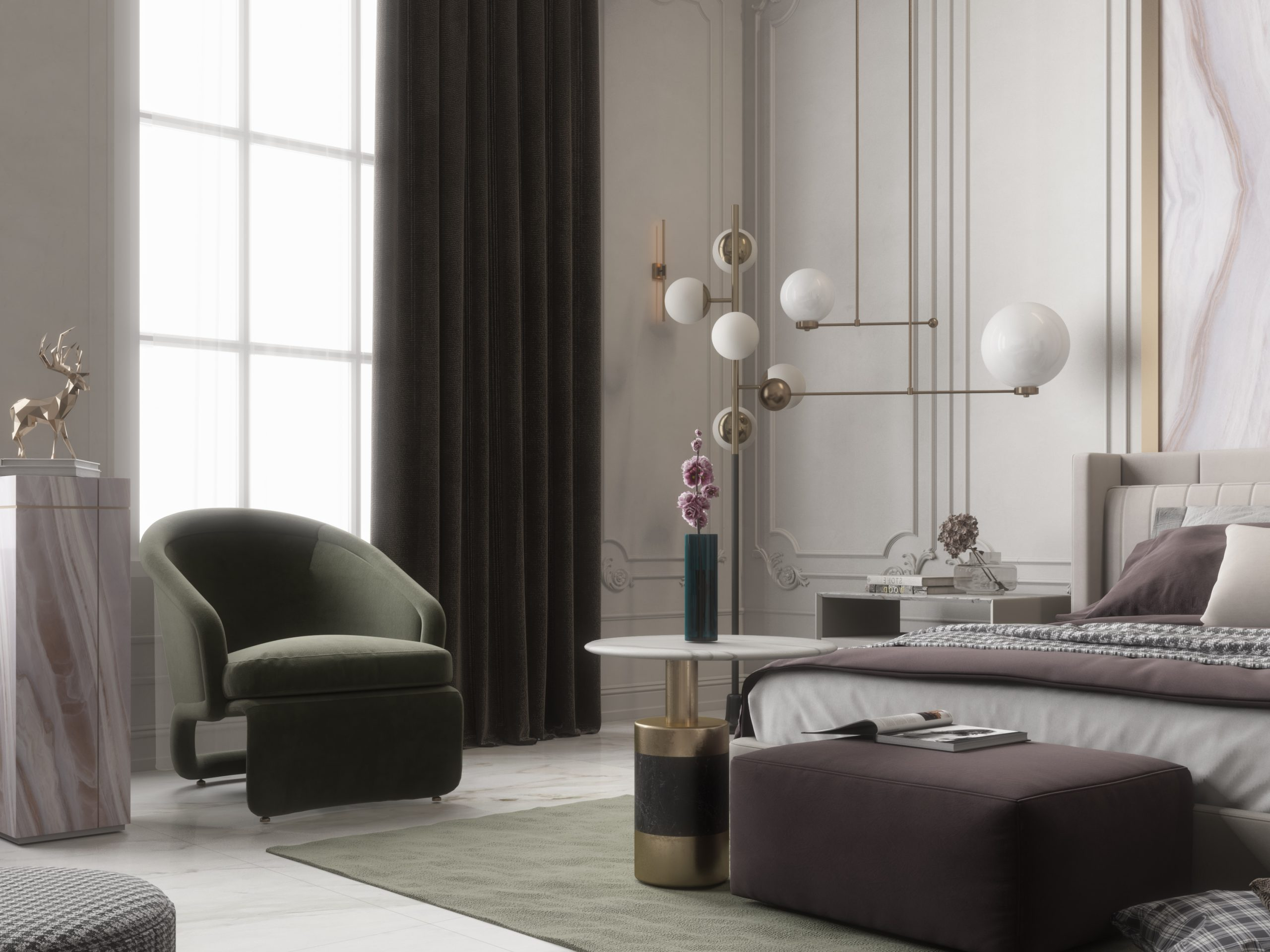 classic and modern girls bedroom