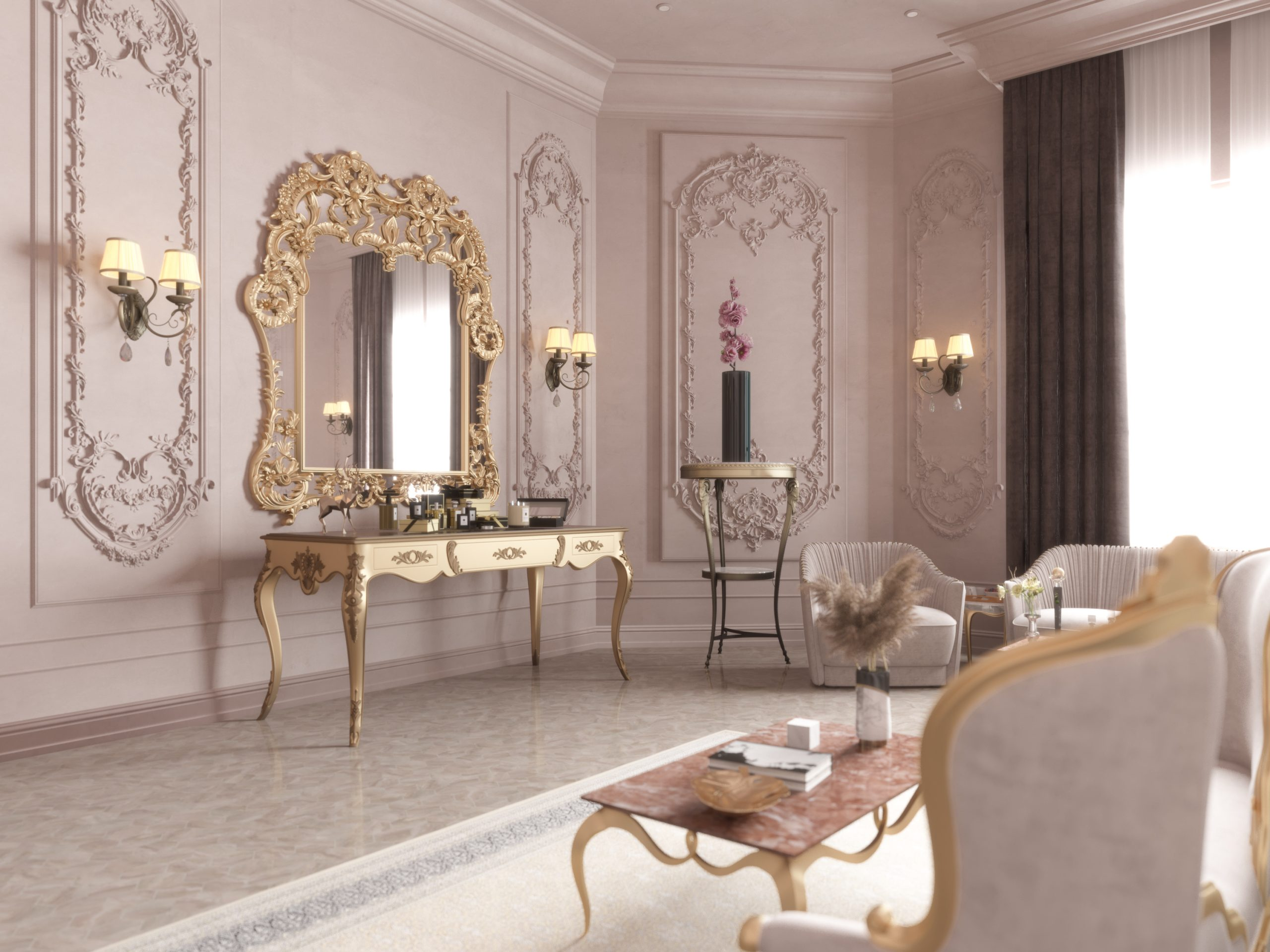 dressing table in luxury master bedroom classic design