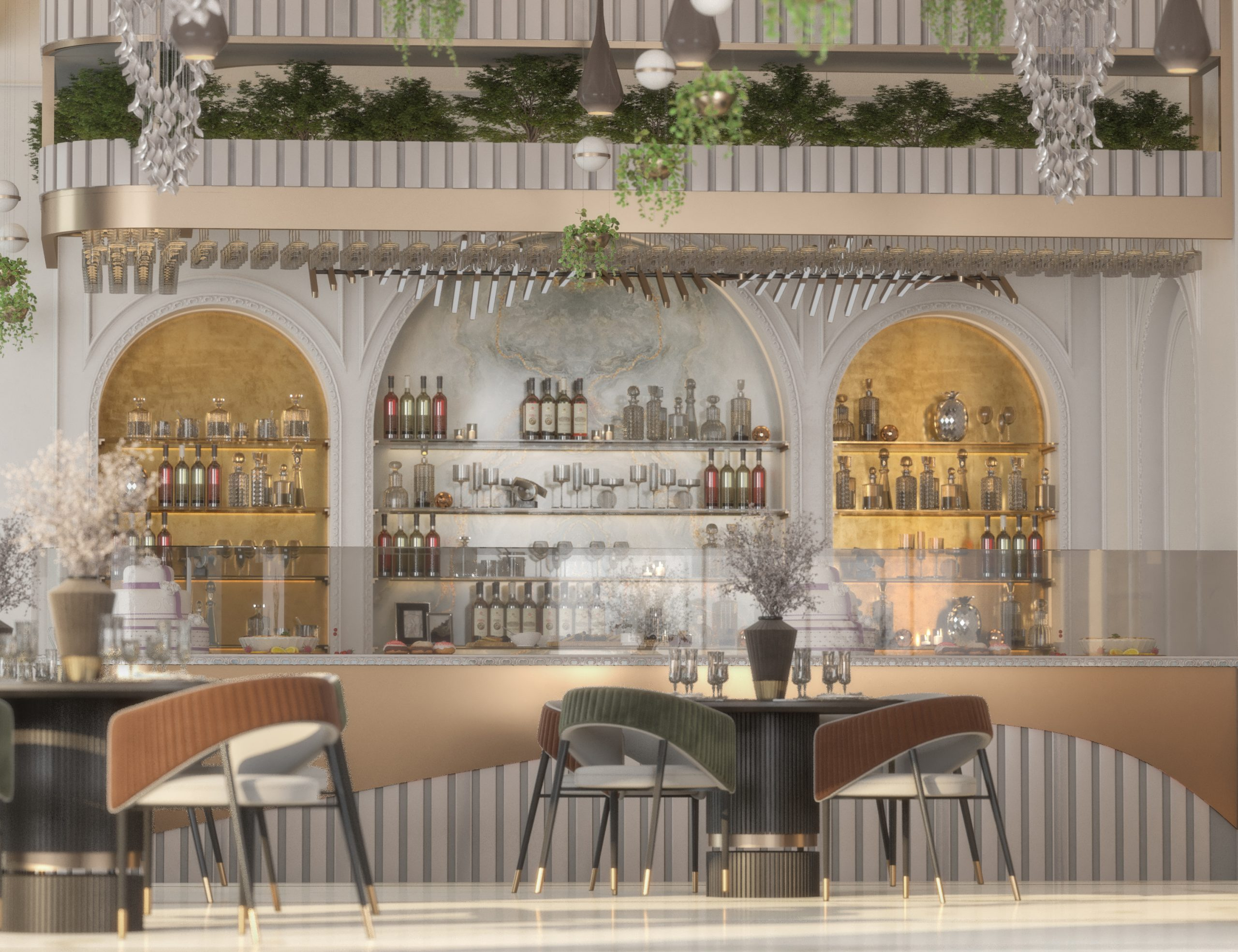 golden details bar design in restaurant
