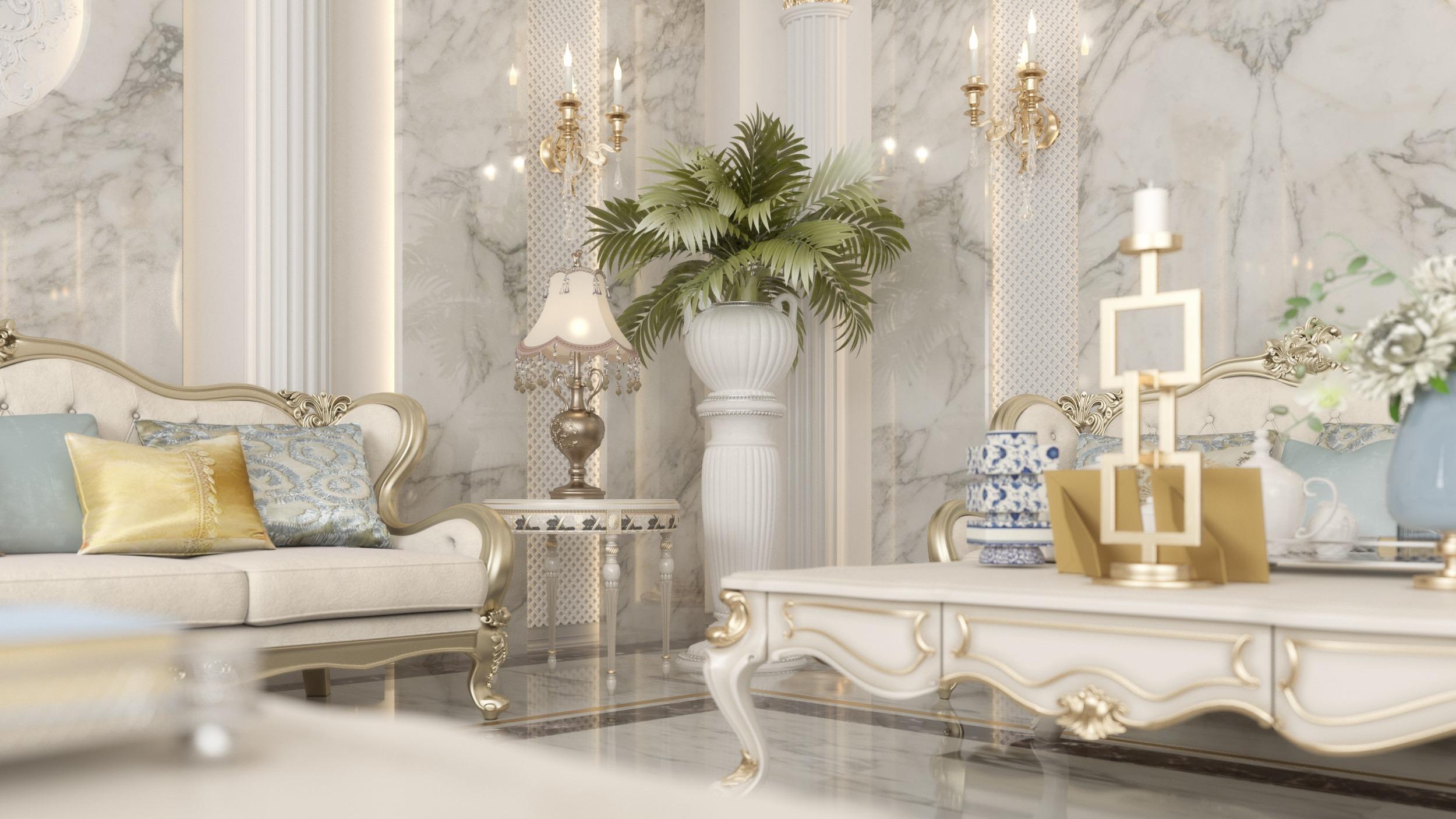 marble - classic design -plants