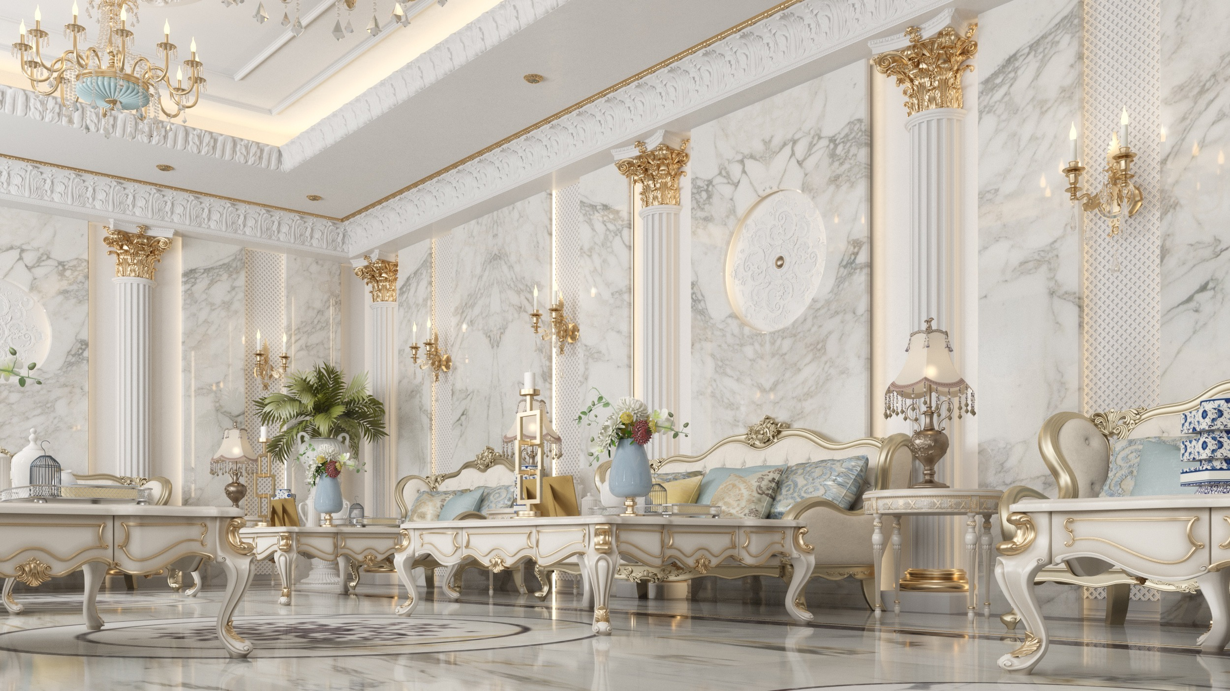 marble walls - classic decoration - luxurious