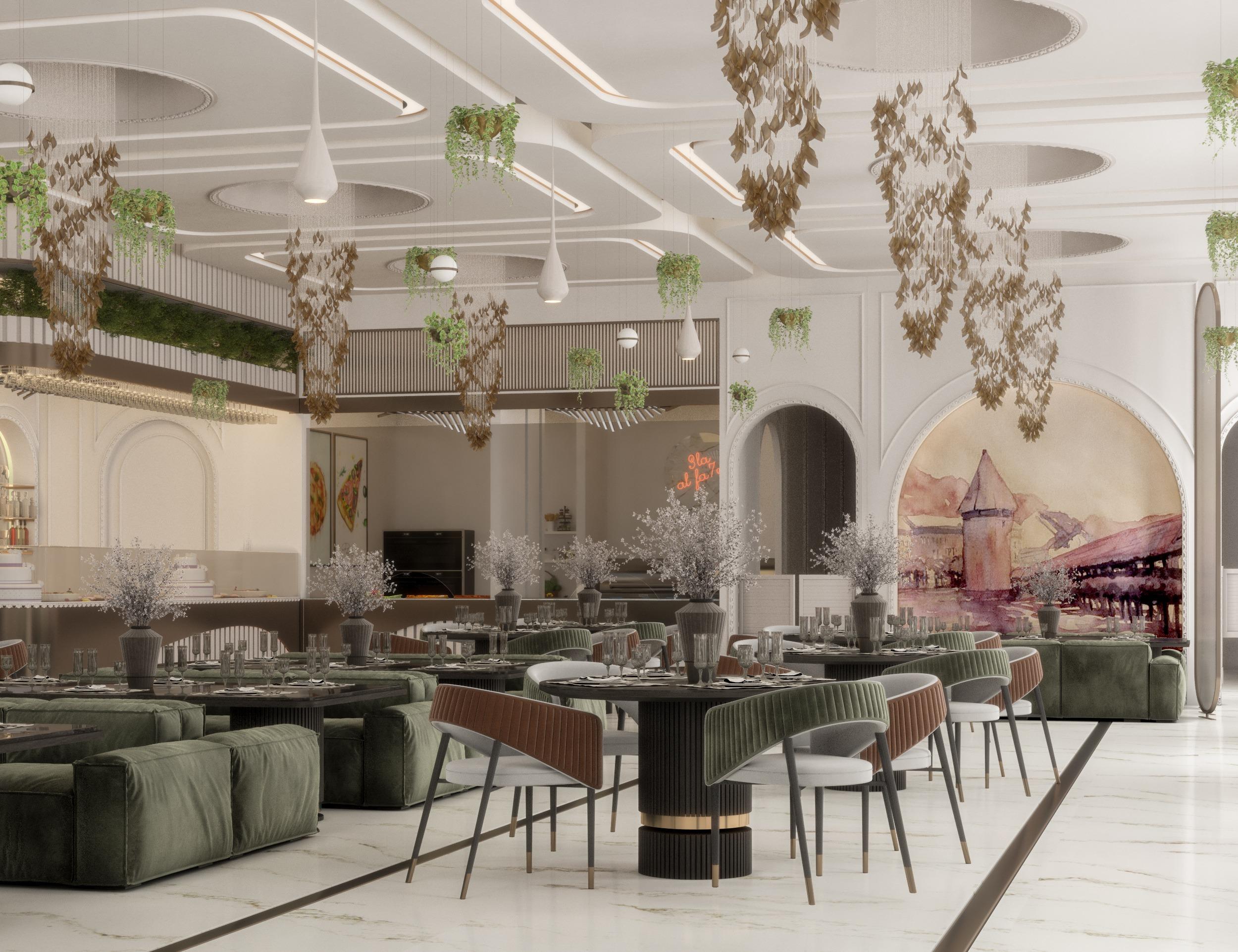 comprehensive render for lucerne restaurant in UAE