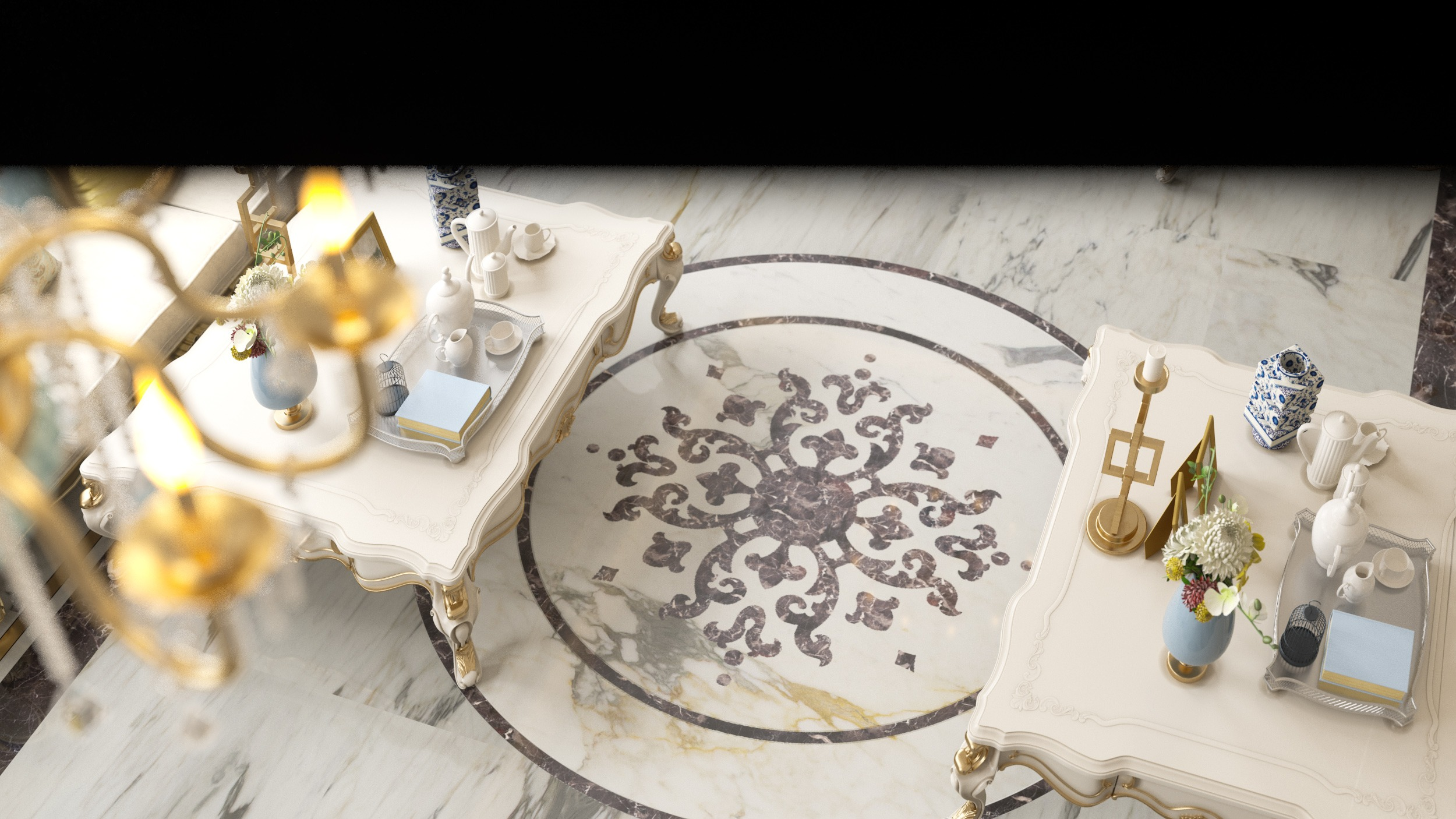classic tables -water jet floor -marble