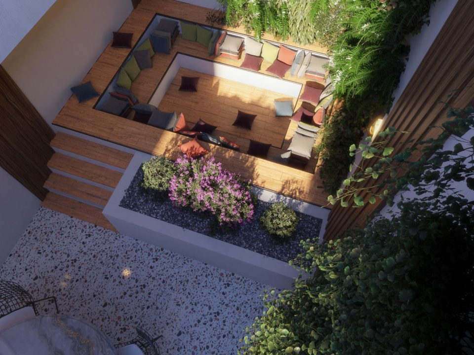 garden concept comfy atmosphere surrounded with plants