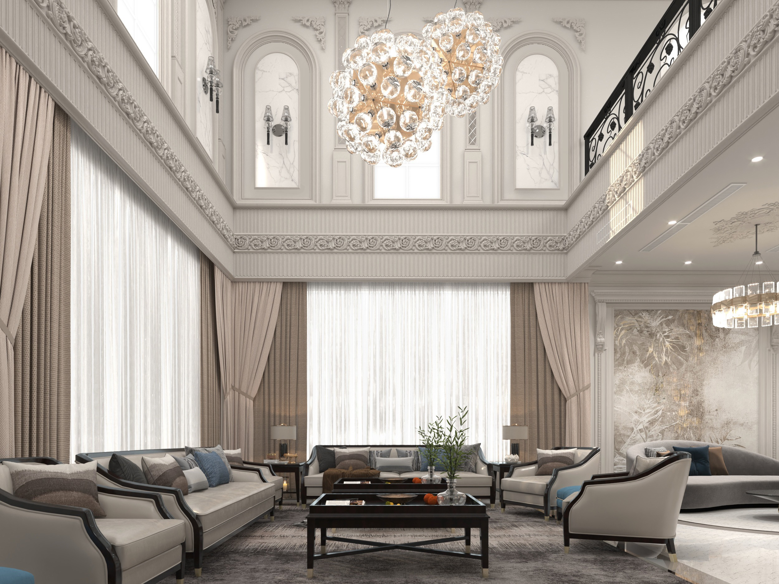 golden lights - amazing wall decorating - sitting area
