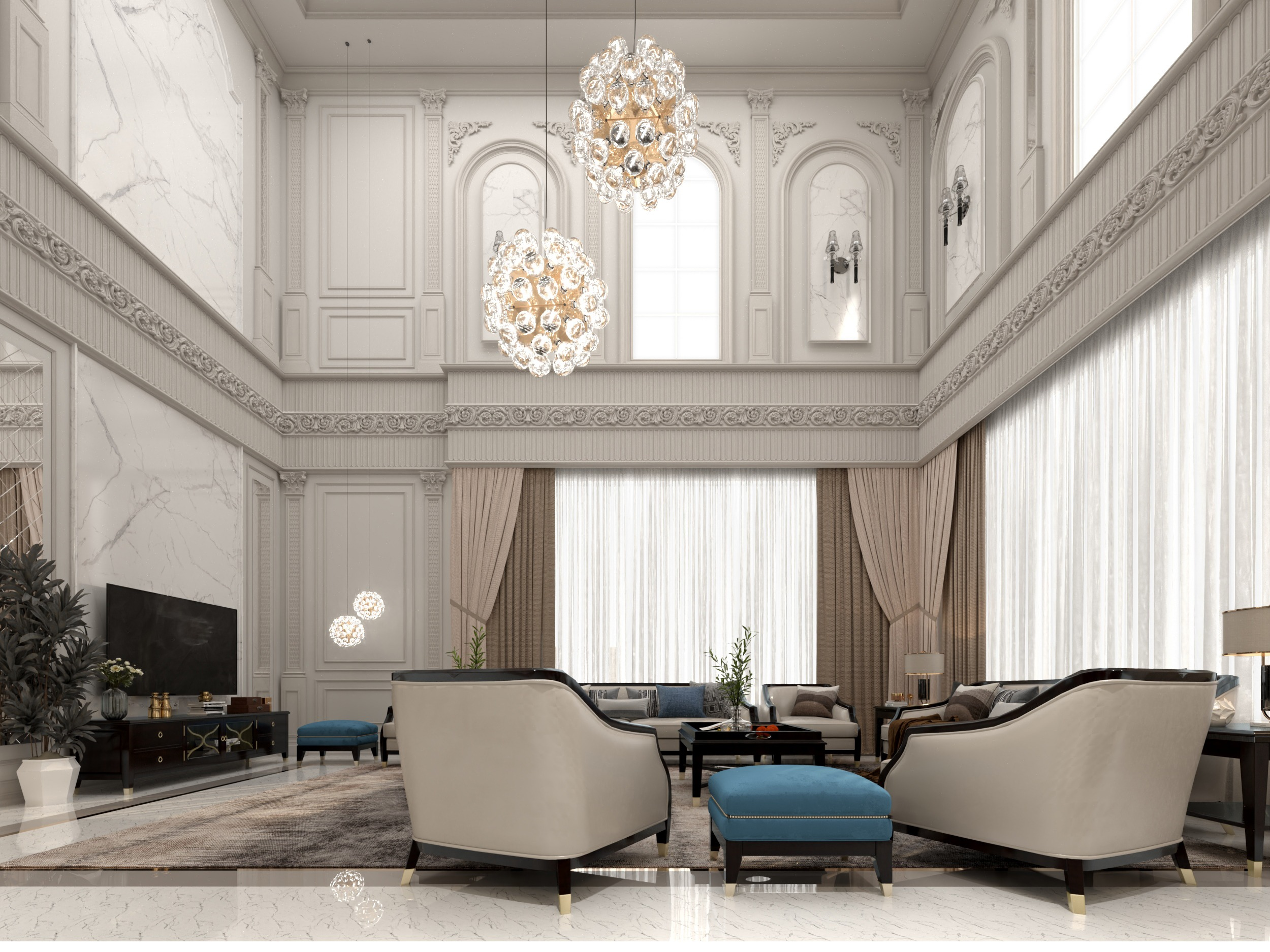 blue touch - sitting room - classy wall