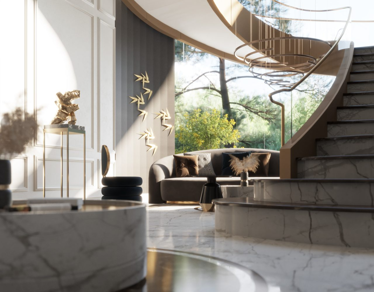 HIGH CLASS MAIN HALL -sun light - stairs - wall design - marble floor