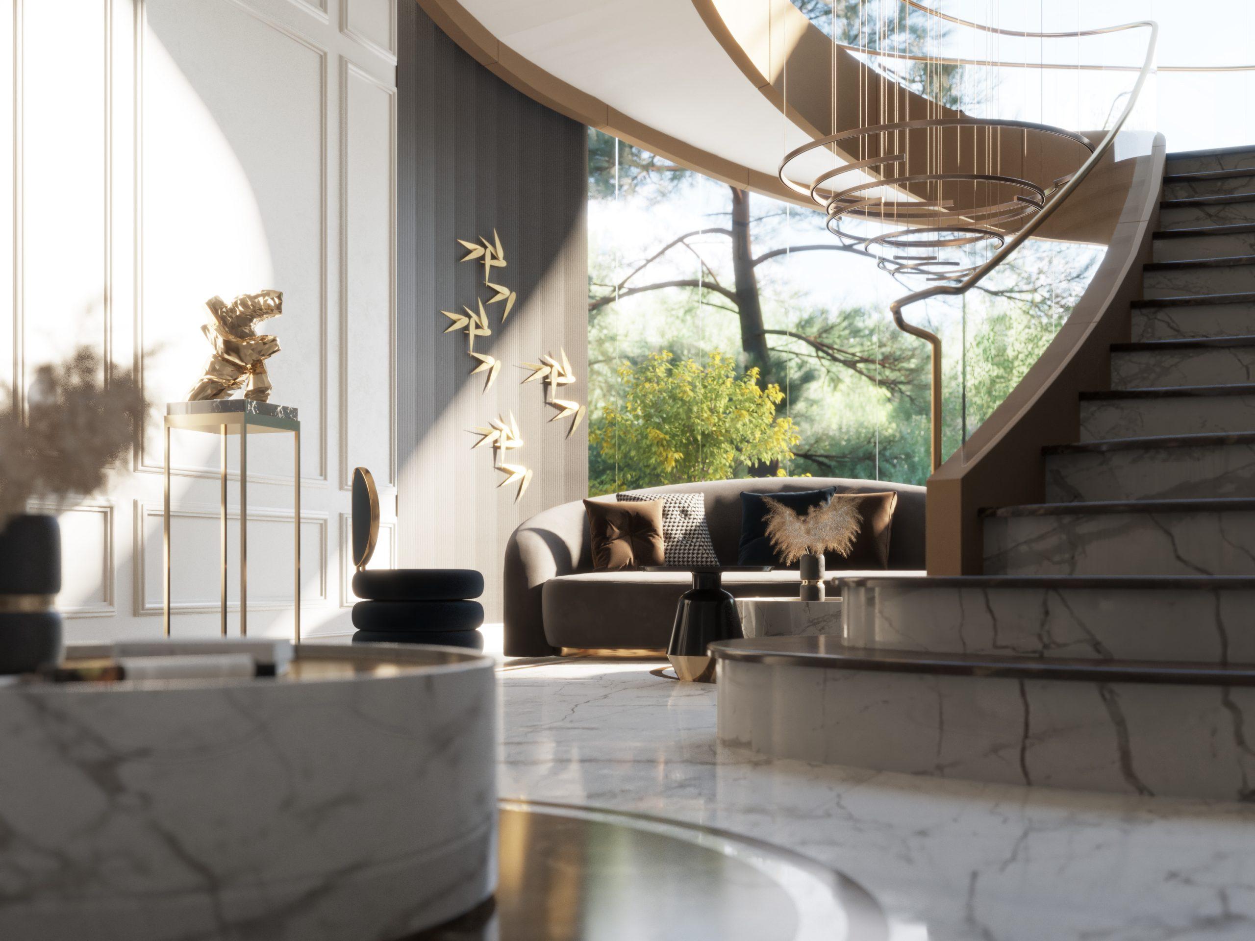 HIGH CLASS MAIN HALL - sun light - stairs - wall design - marble floor