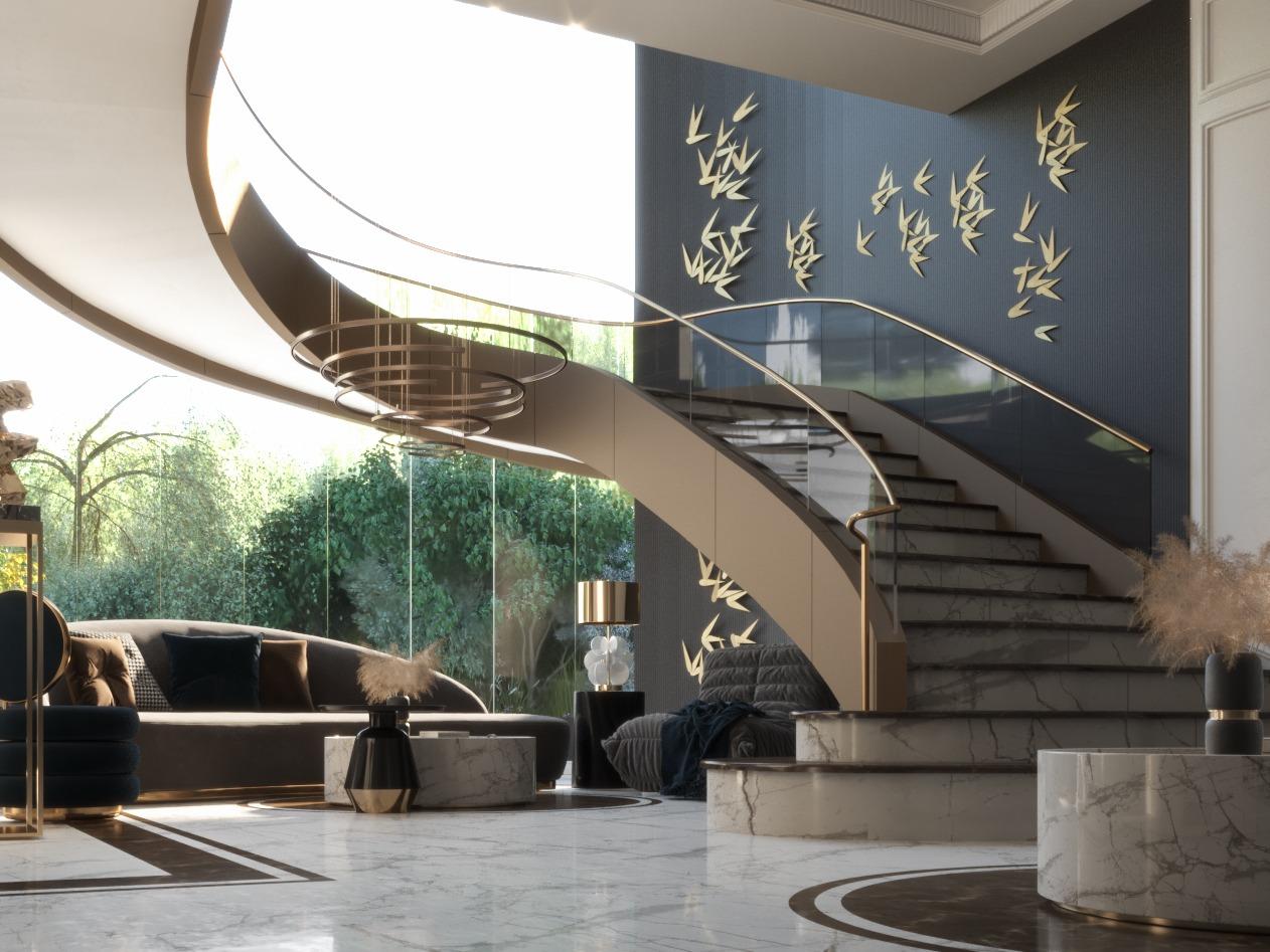 black wall - golden birds - golden stairs - HIGH CLASS MAIN HALL