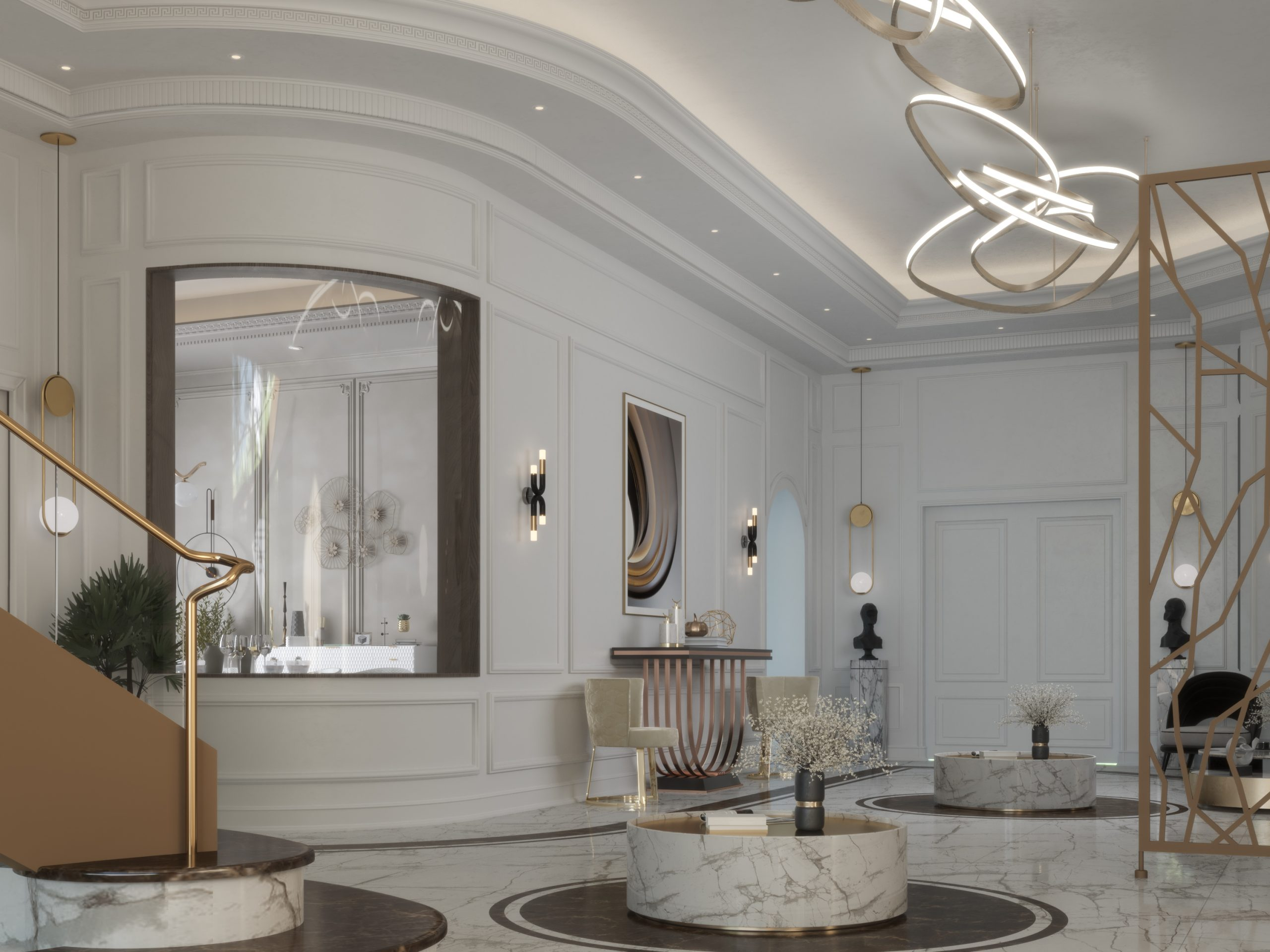 curved wall - white walls decoration - golden lights