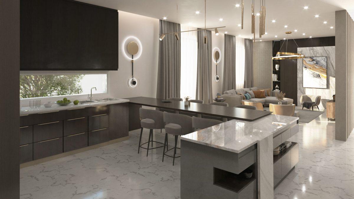 open kitchen on sitting room