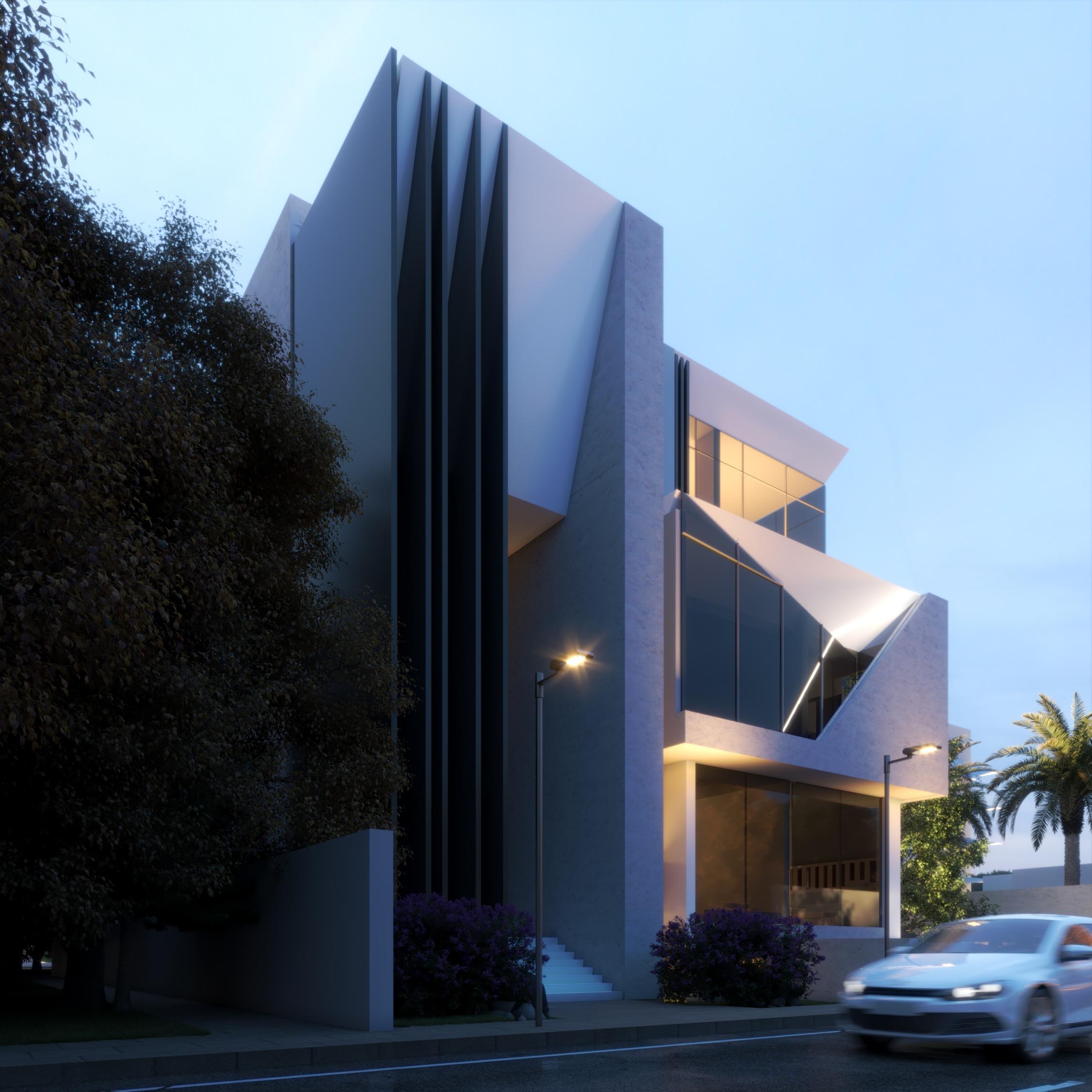 modern exterior design - day time - render