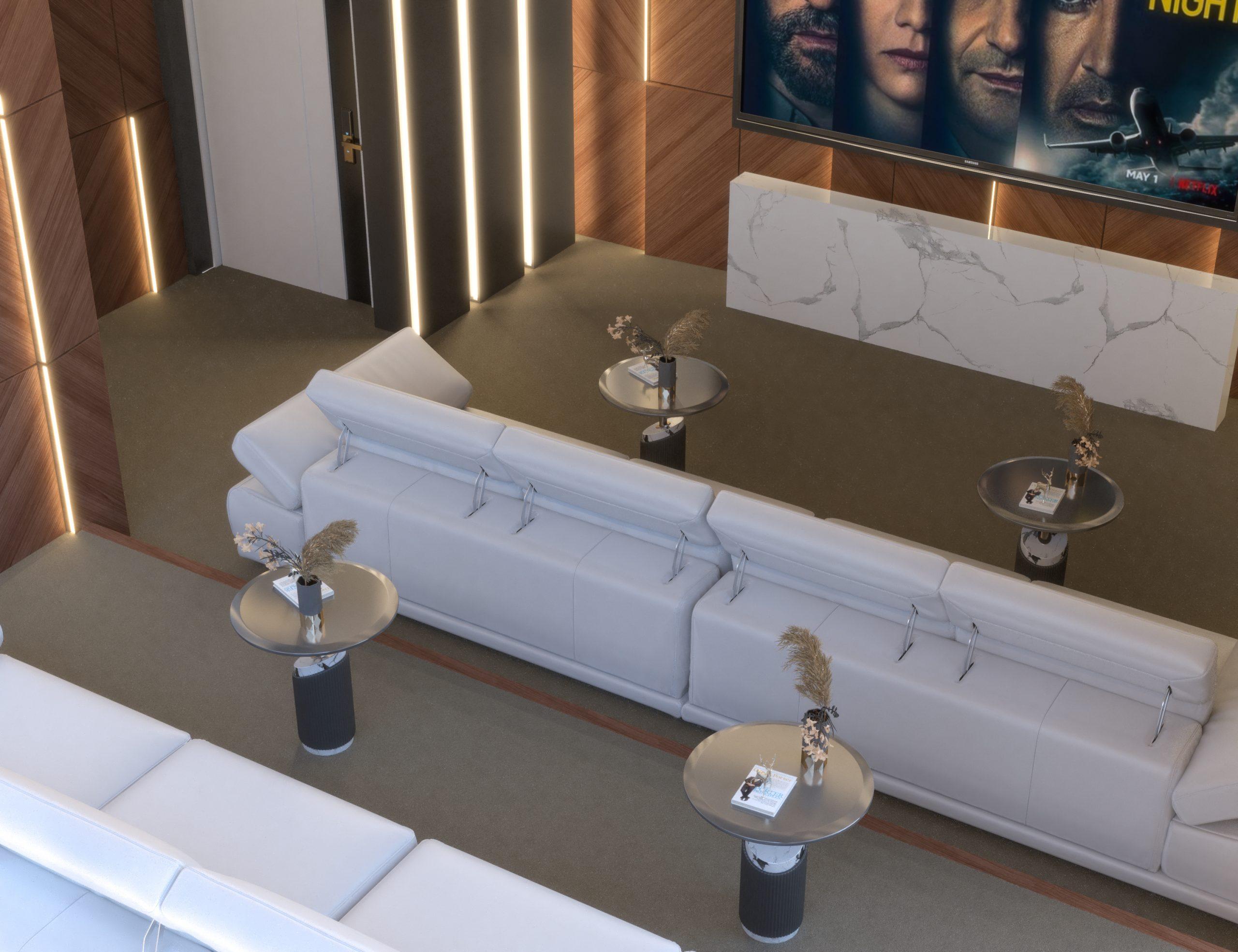 top view - white sofas - wood