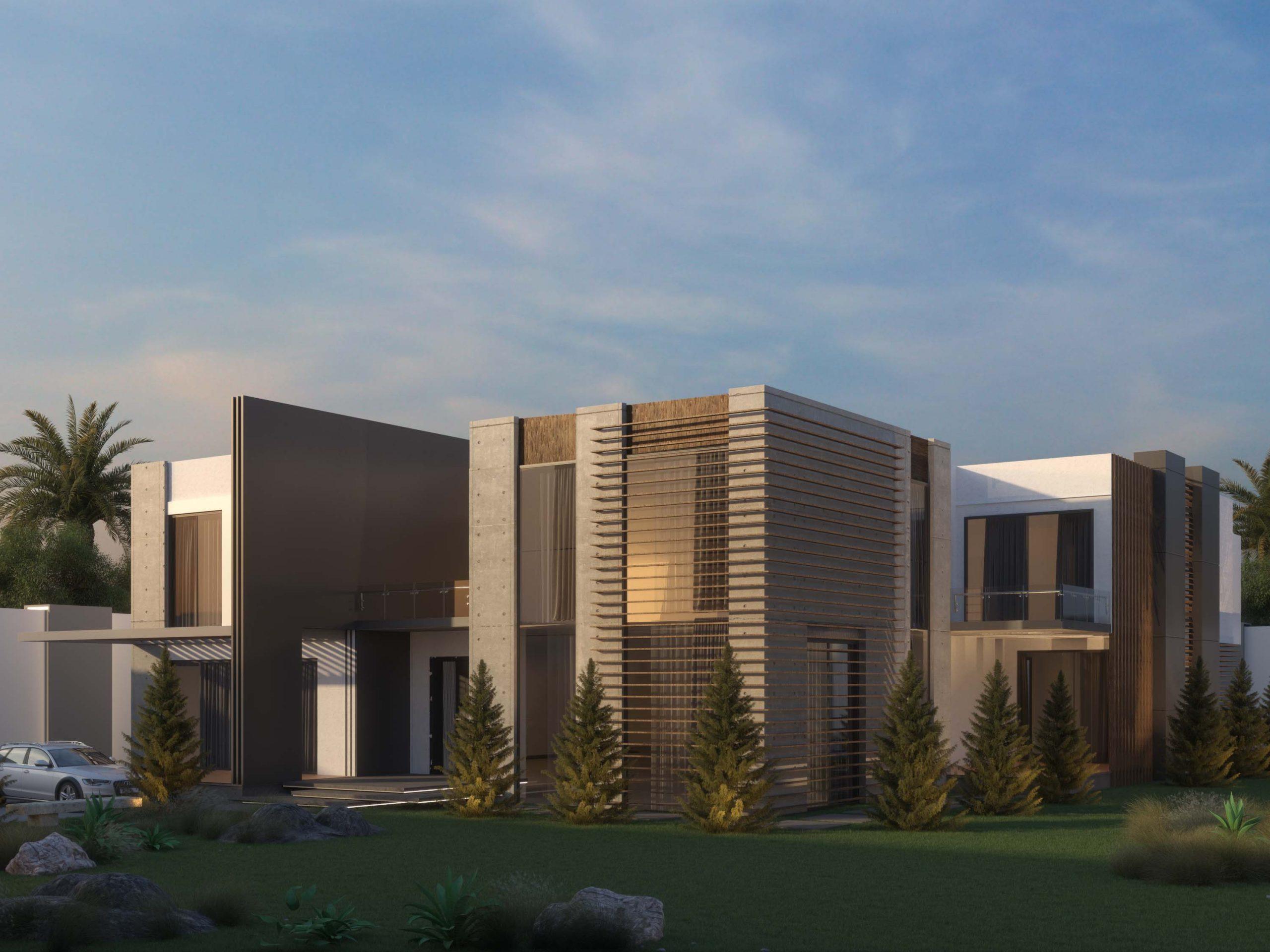 vill modern exterior design - full view - villa - modern - design