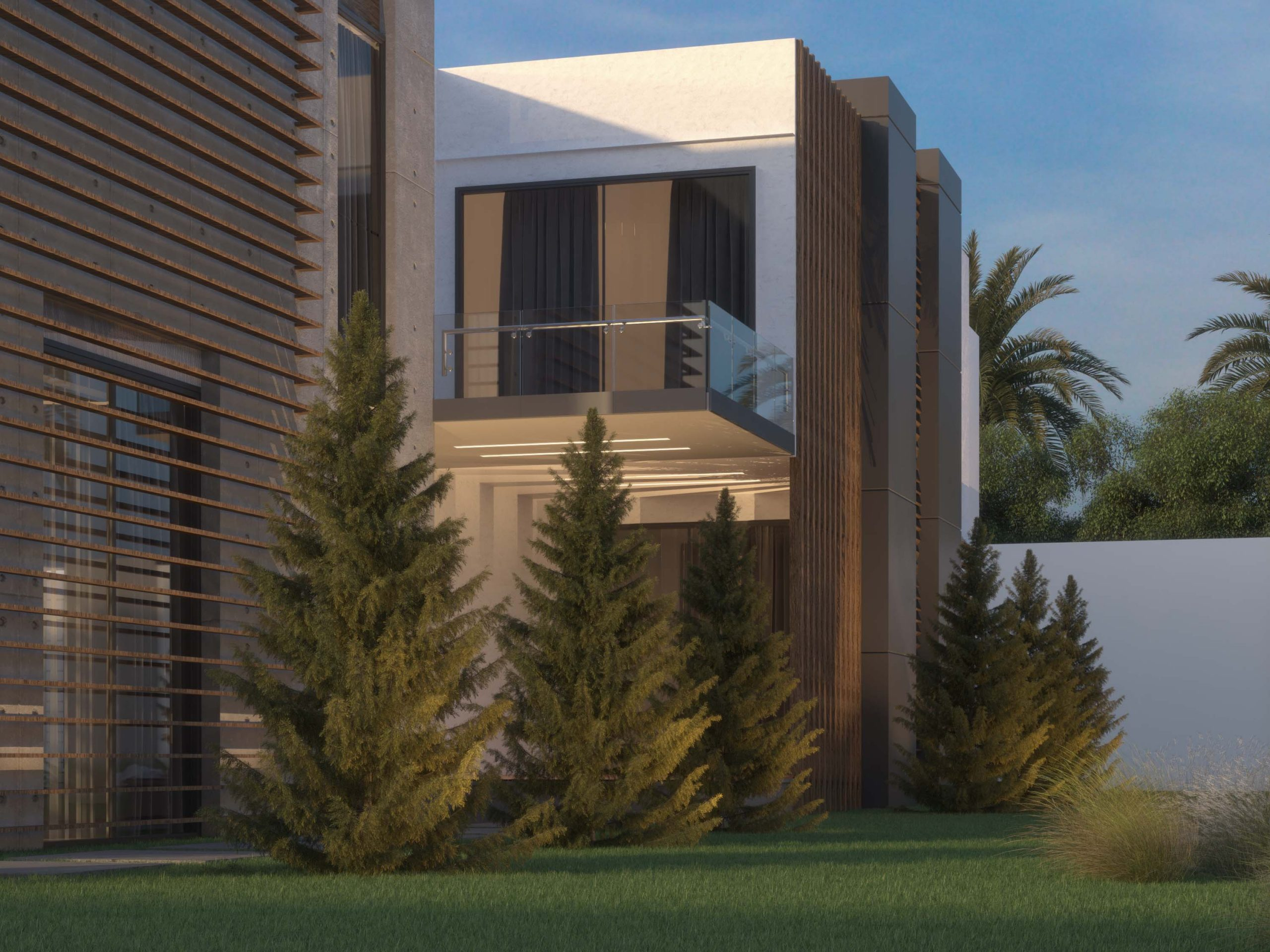 back yard - villa design - exterior design - balcony