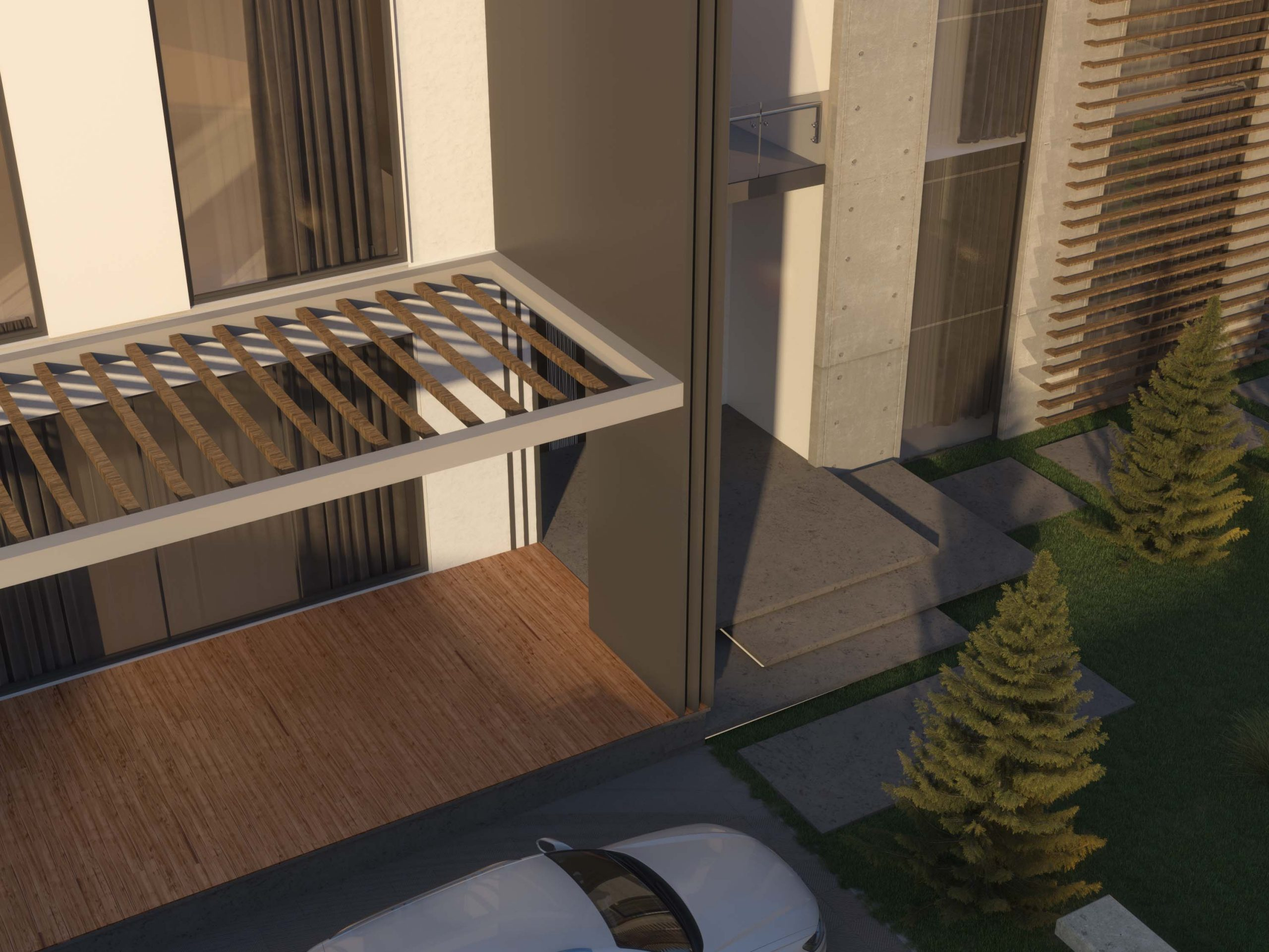 top shot - view - front door stairs