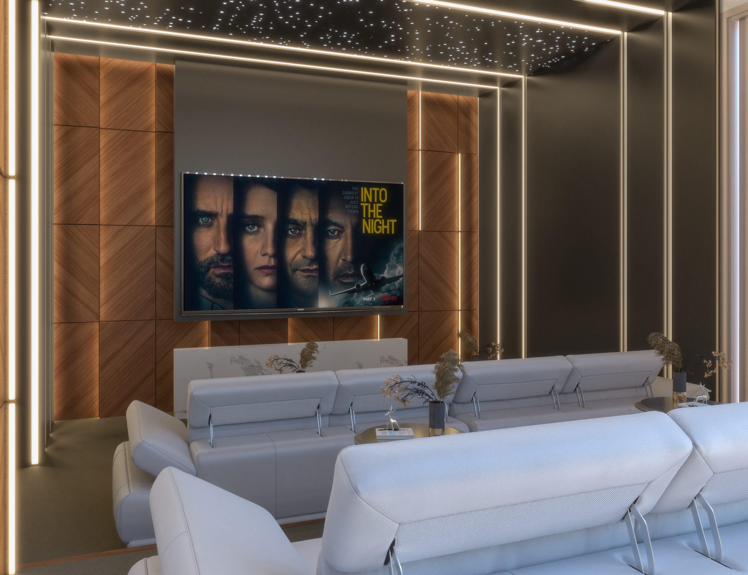 front view - big cinema screen - wooden design