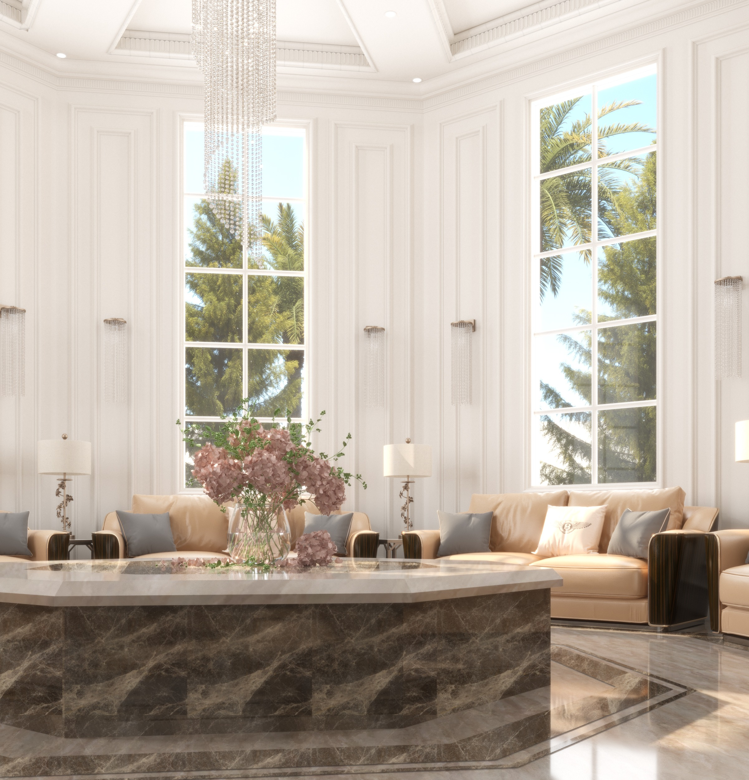 sun room -bentley - furniture - marble table