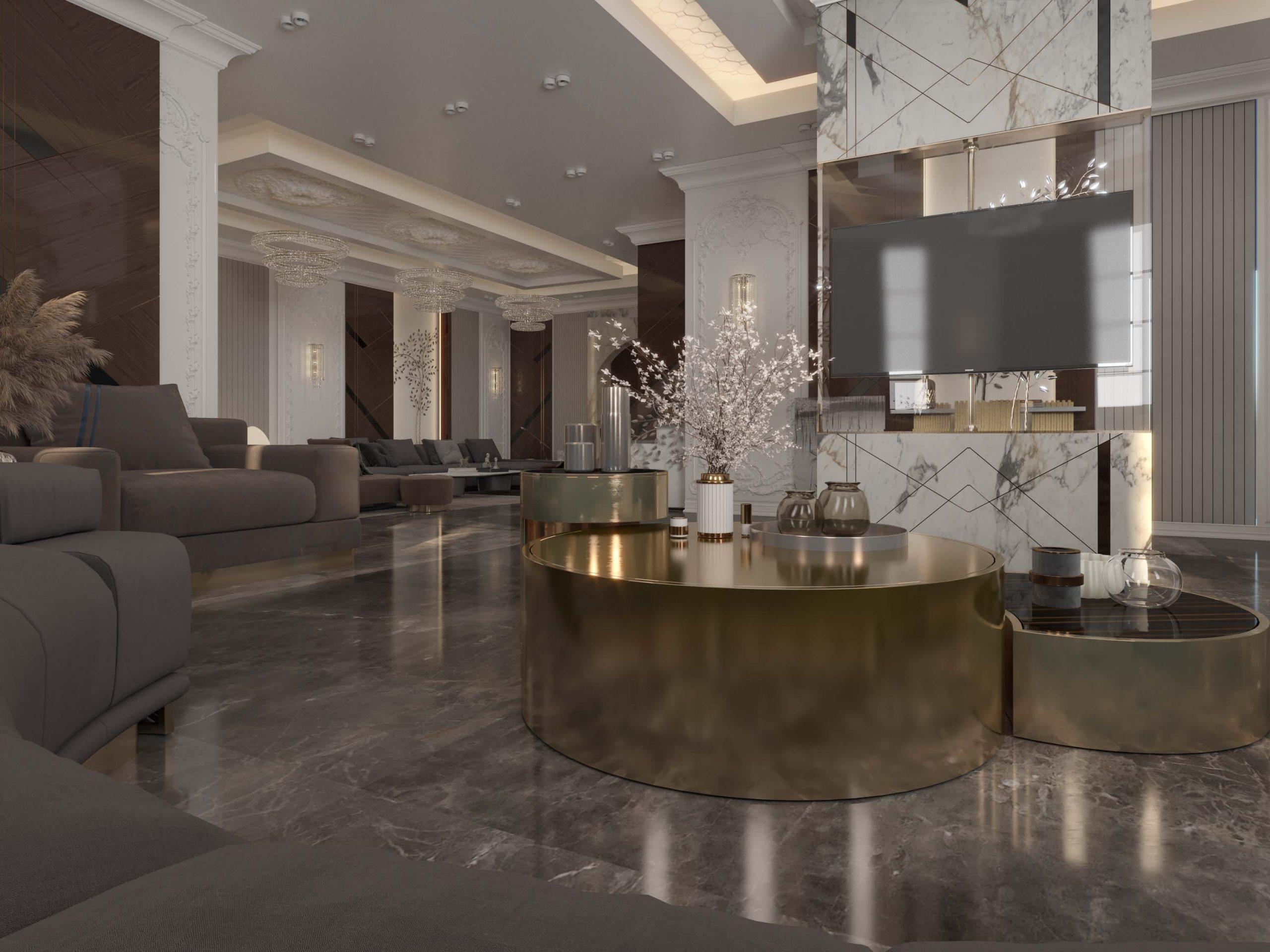 modern - classic - well designed sala - golden tables