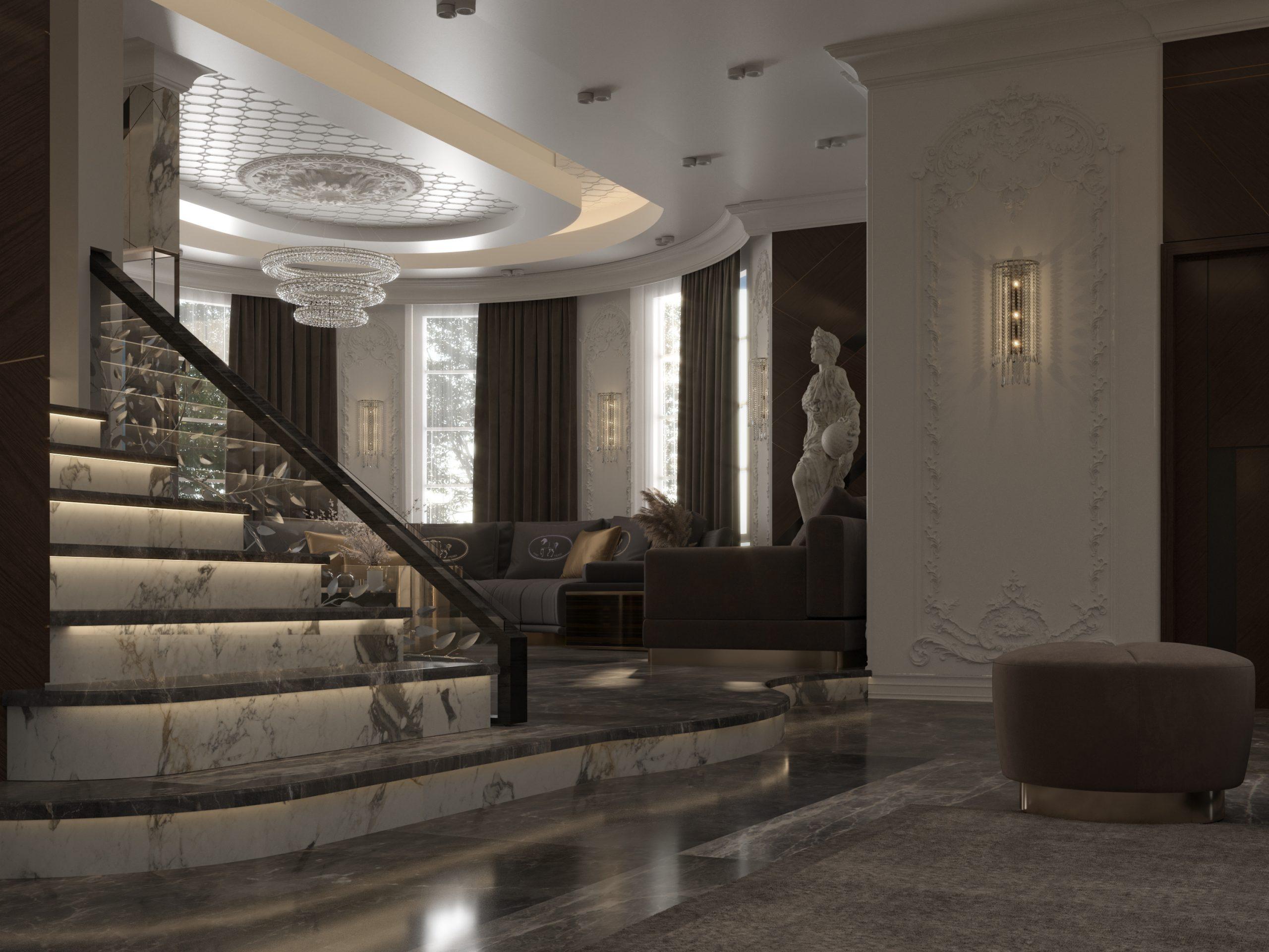main hall - sala - stairs design - statue