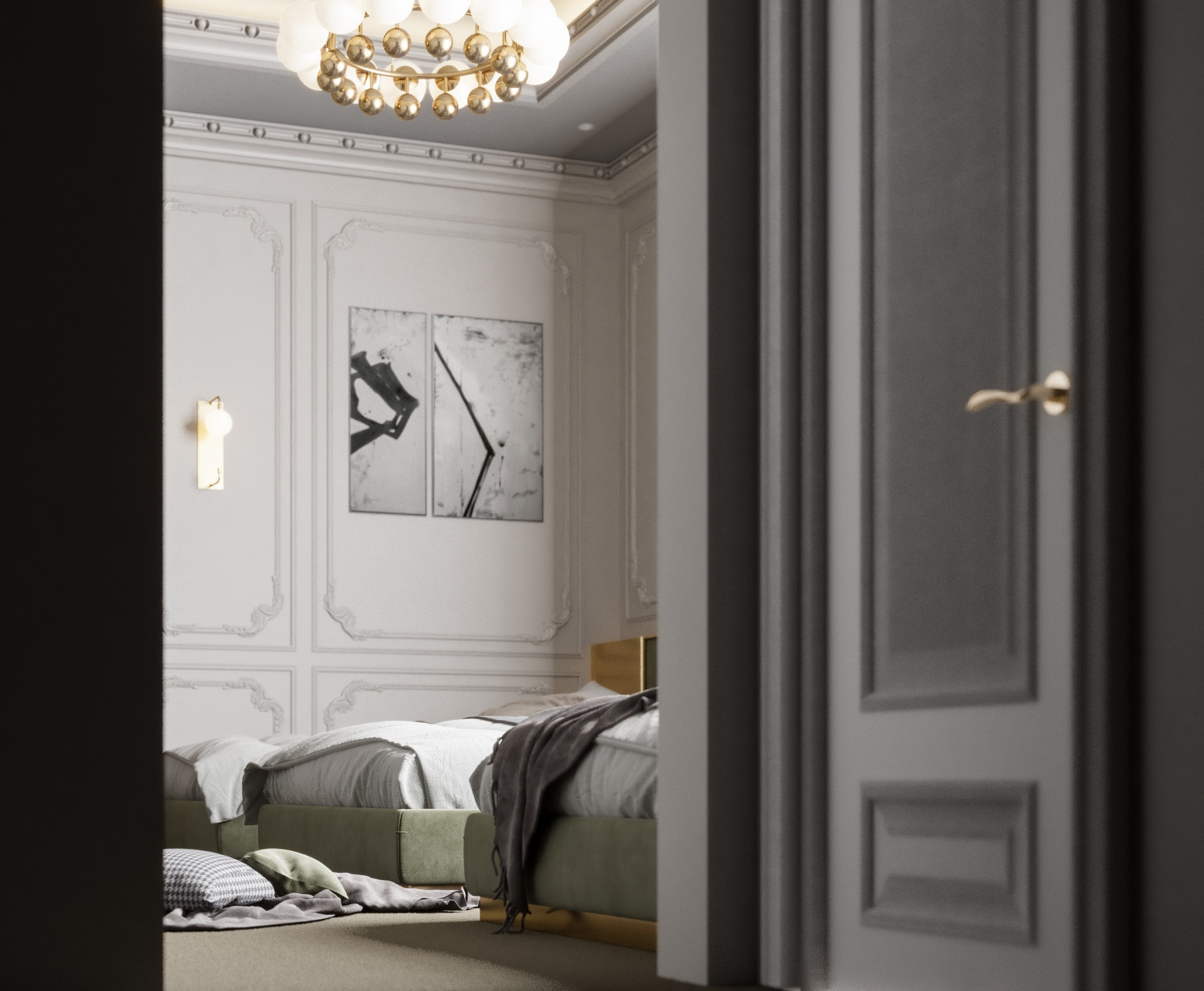neo classic - three beds room - wall design