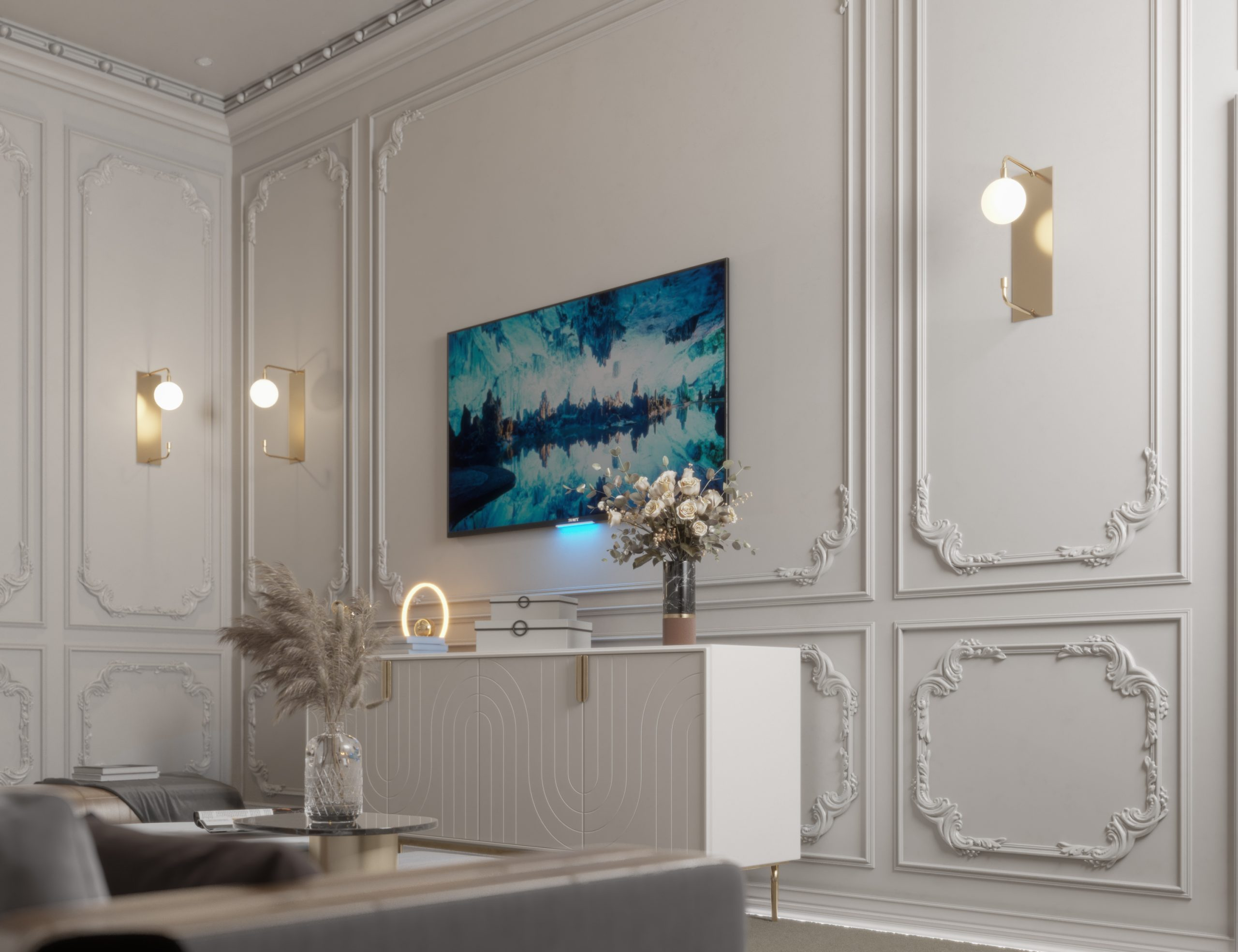 tv area - wall light - wall design - set