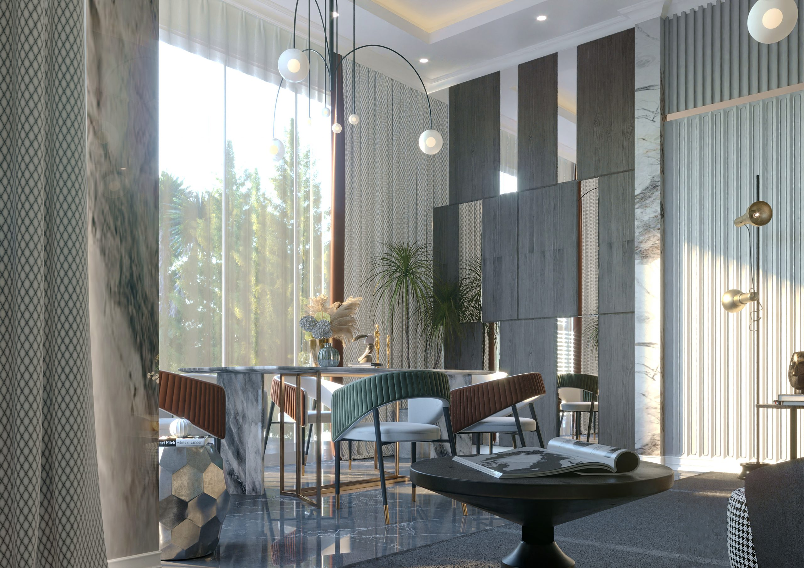 ROUND TABLE - WALL DESIGN - TABLE -MAIN PARTS OF A VILLA