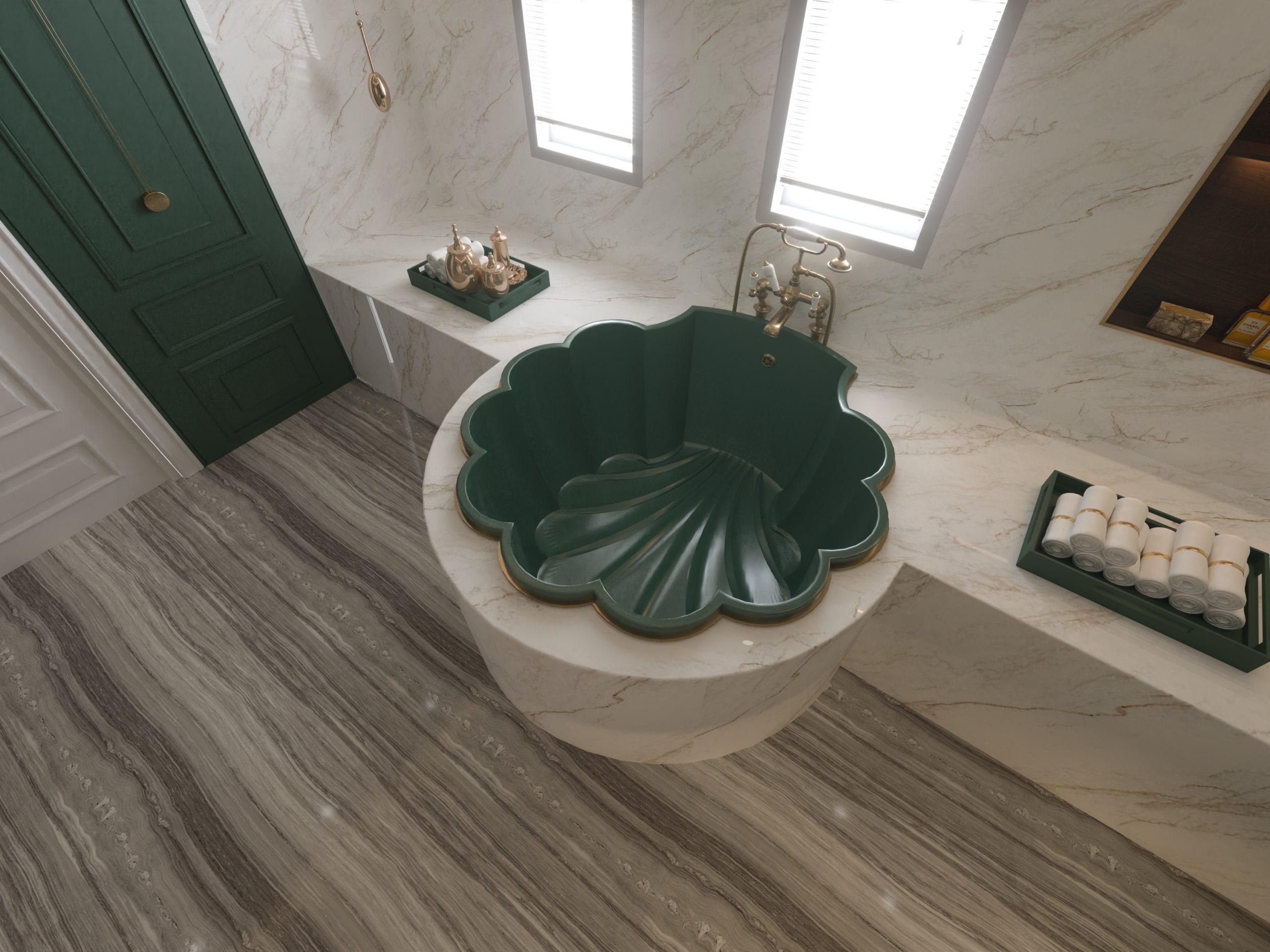 TOP VIEW - GREEN BATH TUB - MARBLE