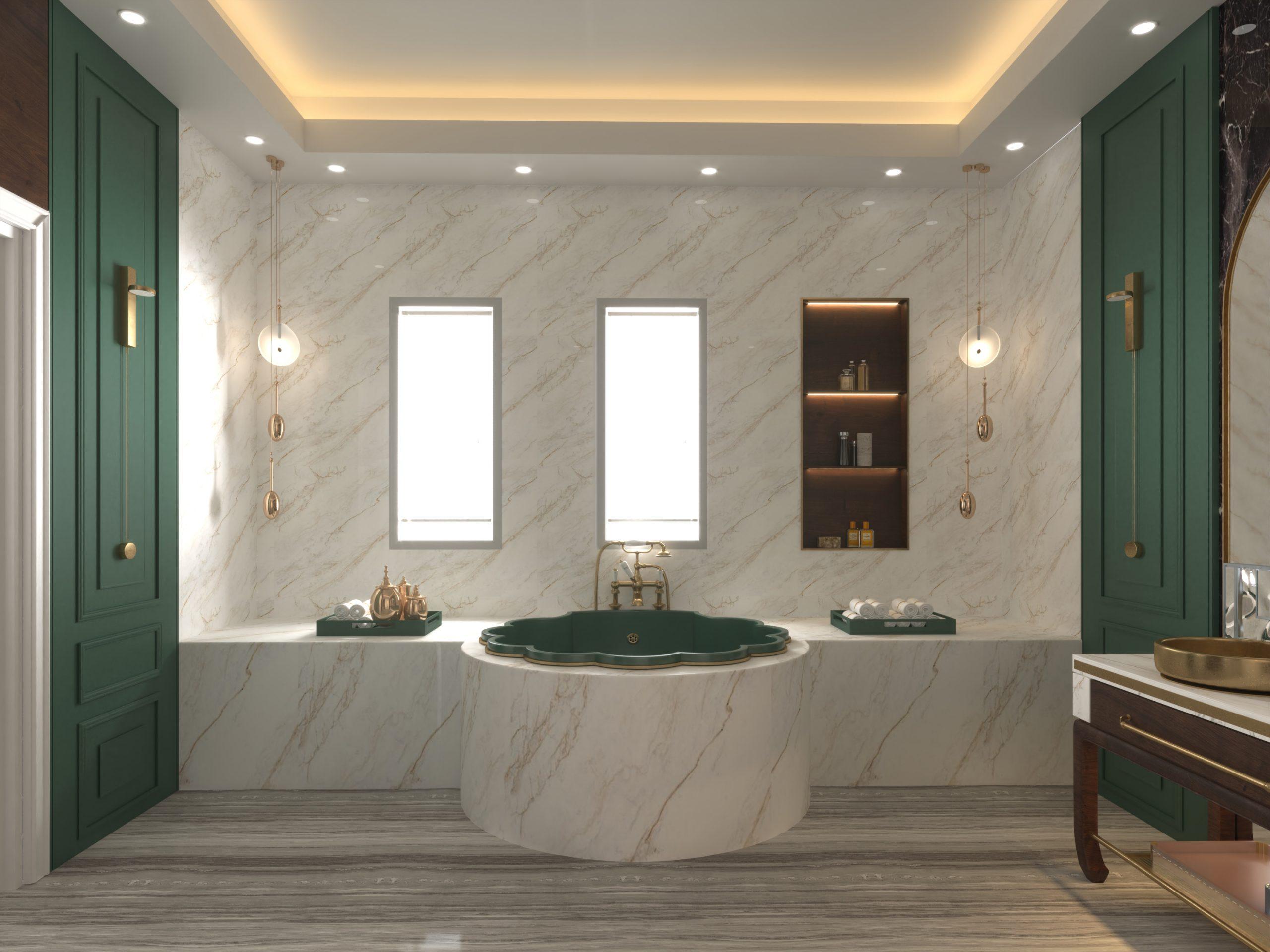 OYSTER SHELL BATH TUB - GREEN - BIG BATHROOM