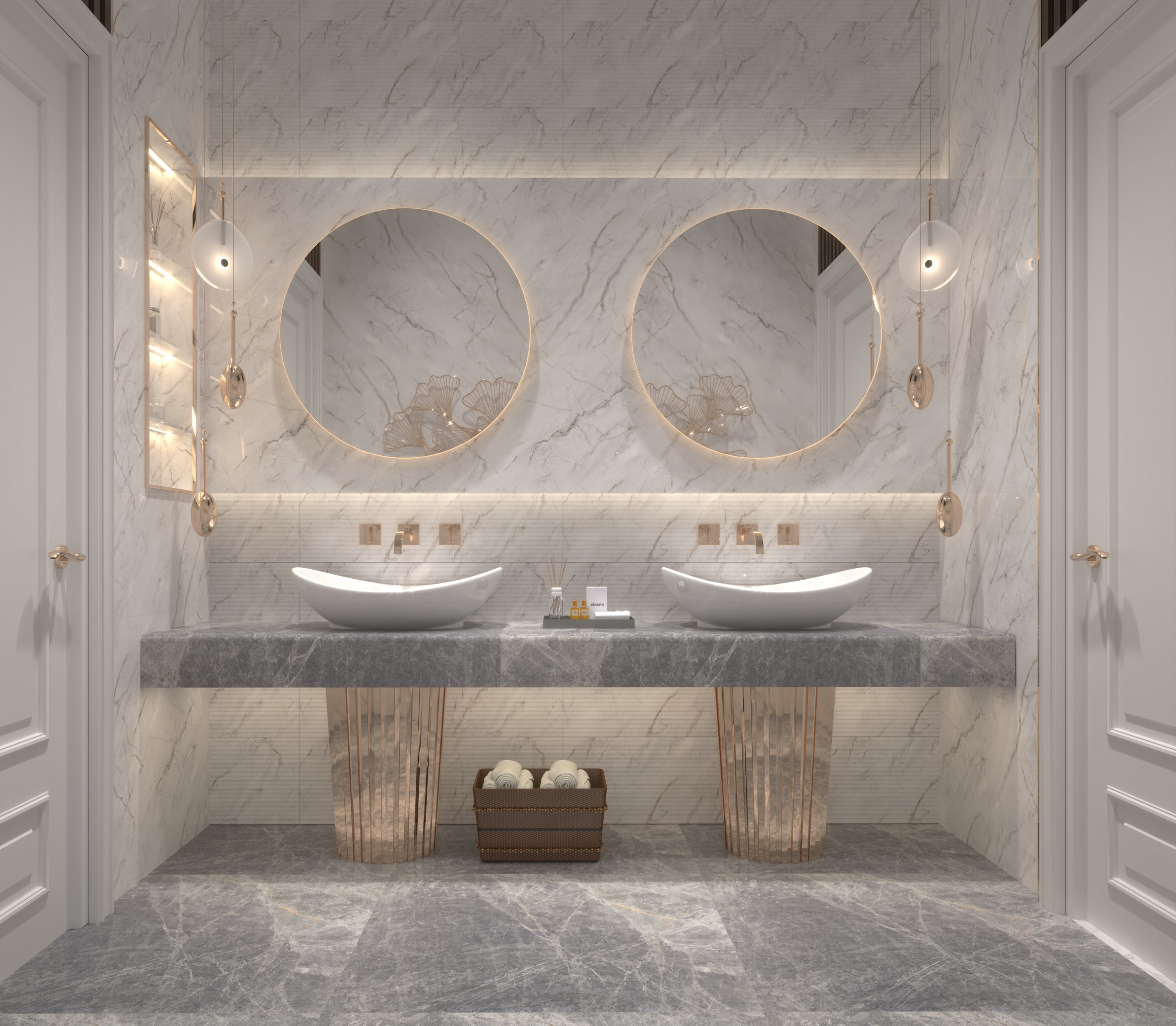 DOUBLE SINK - WHITE MARBLE - GRAY MARBLE