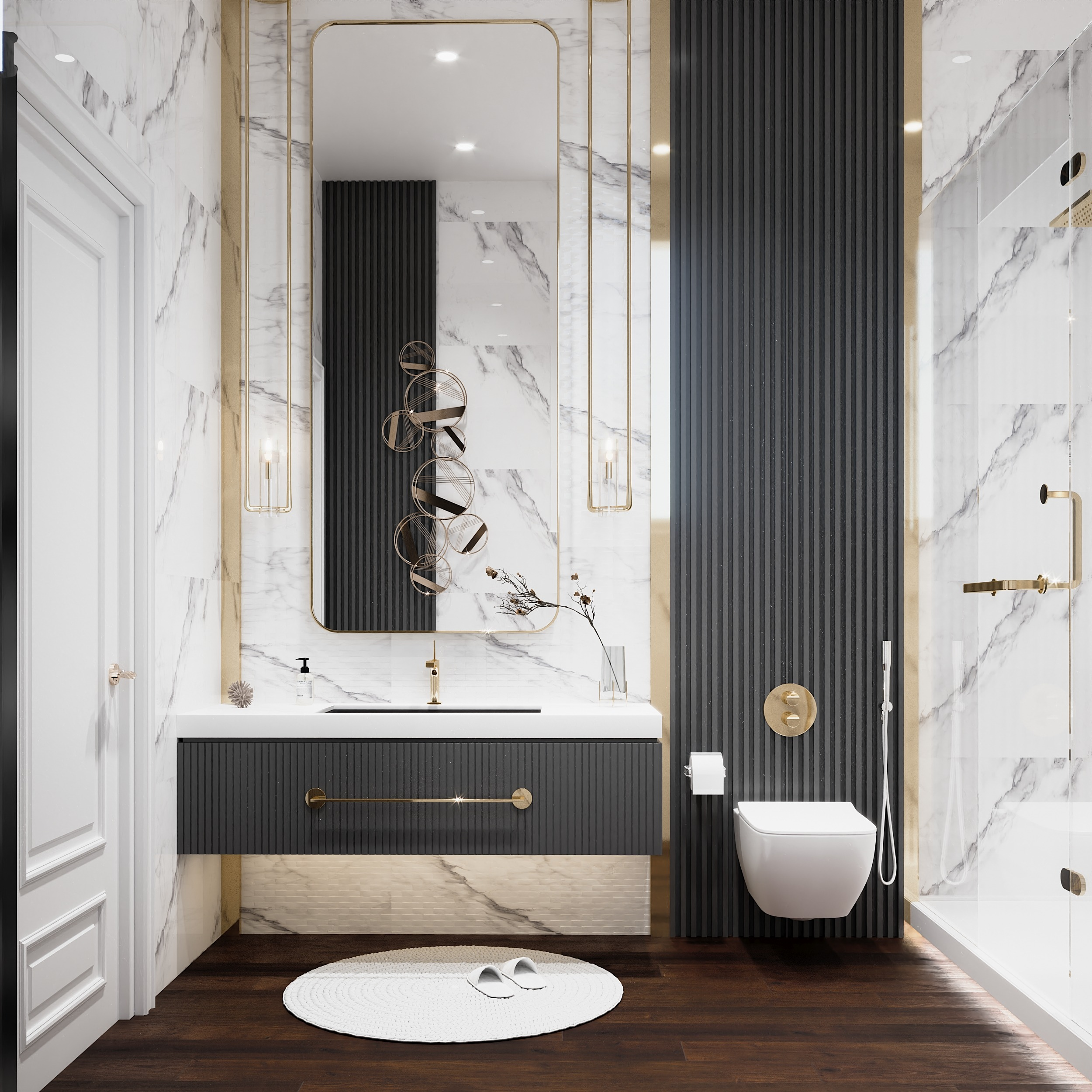 WELL DESIGNED BATHROOMS -ELEGANT - WELL DESIGNED BATHROOM - BLACK WOODEN STRIPS - GOLD
