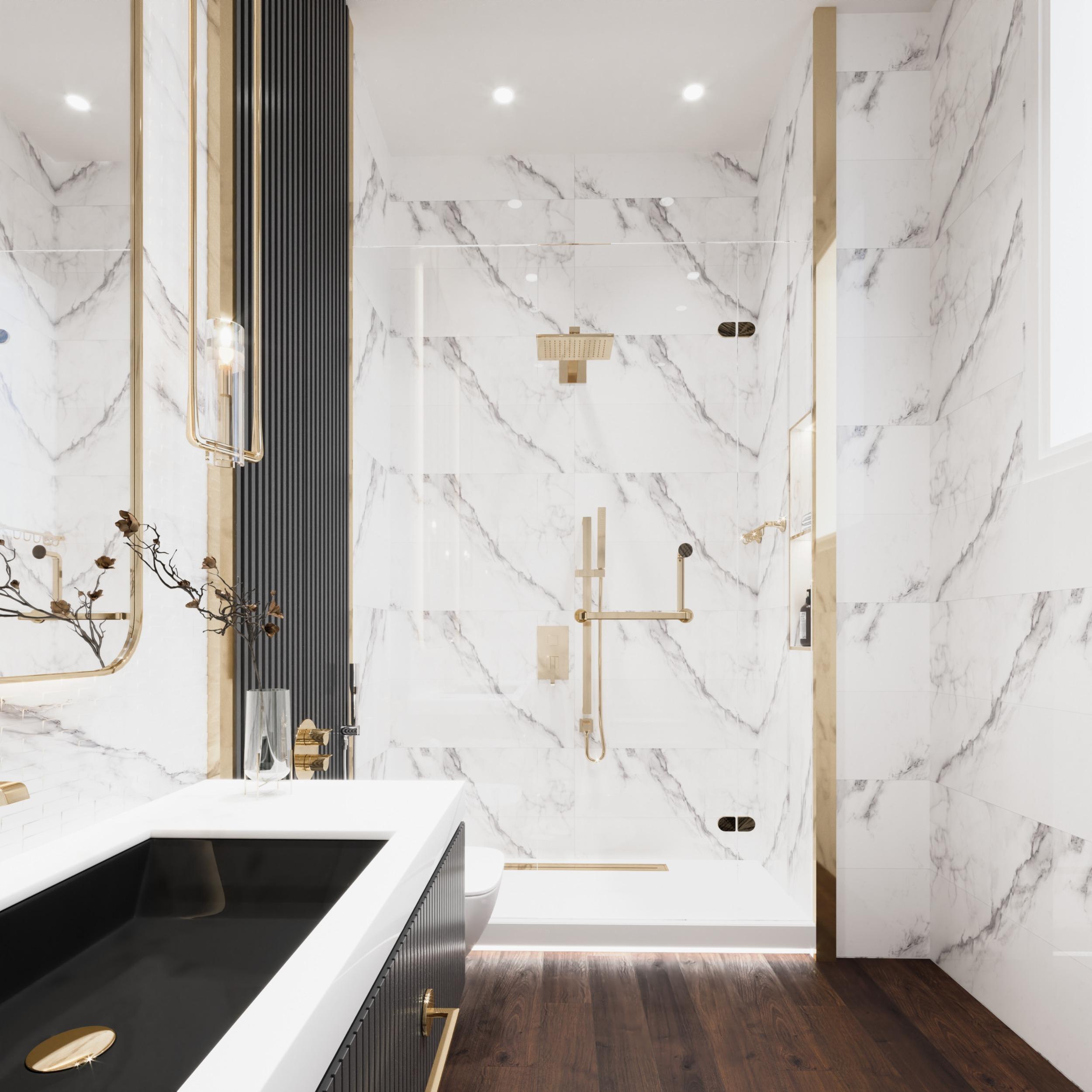 ELEGANT - WELL DESIGNED BATHROOM - BLACK WOODEN STRIPS - GOLD