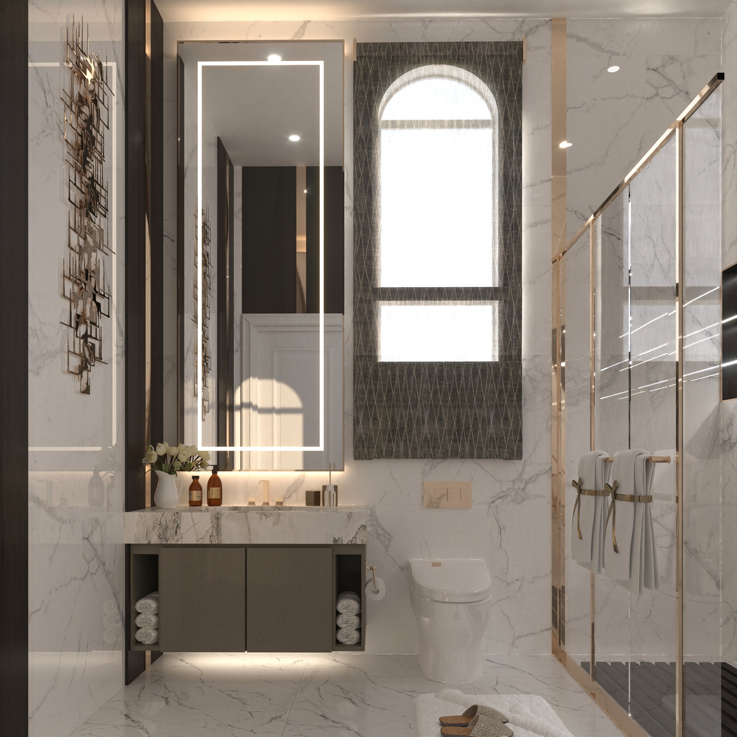 GOLDEN ACCESSORIES - TALL MIRROR - LIGHT IN THE MIRROR -WELL DESIGNED BATHROOMS