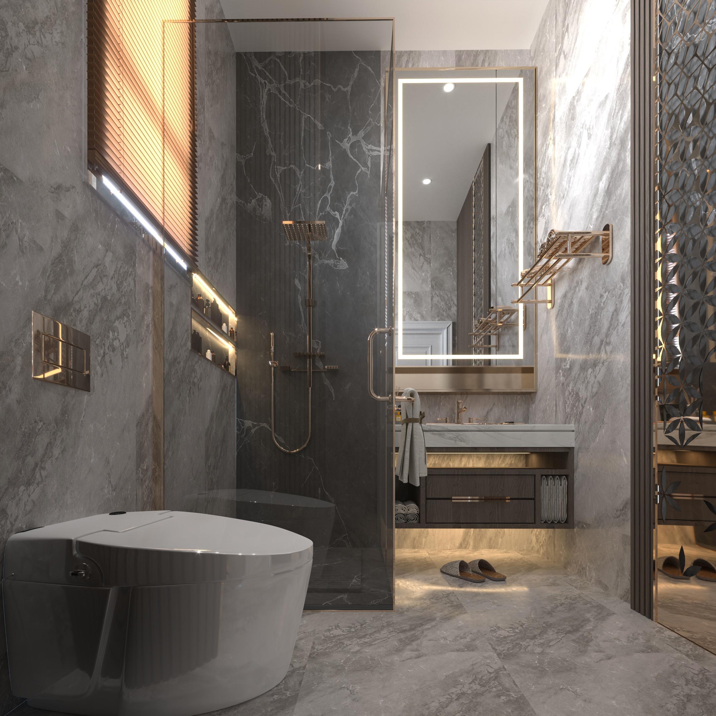 BEDROOM BATHROOM - GOLDEN - GRAY MARBLE