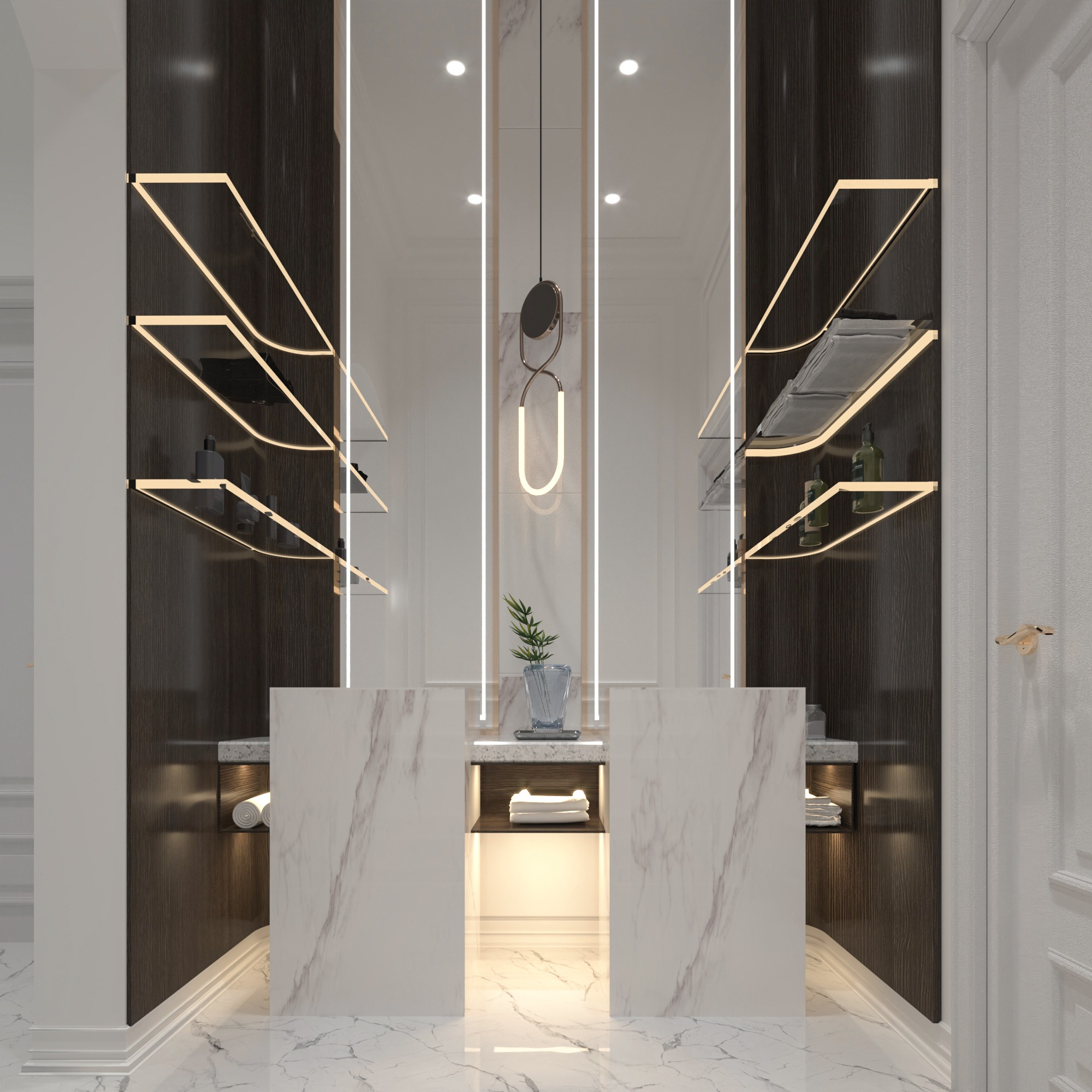 GLASS DESIGN - LIGHT WORK - MARBLE SINK