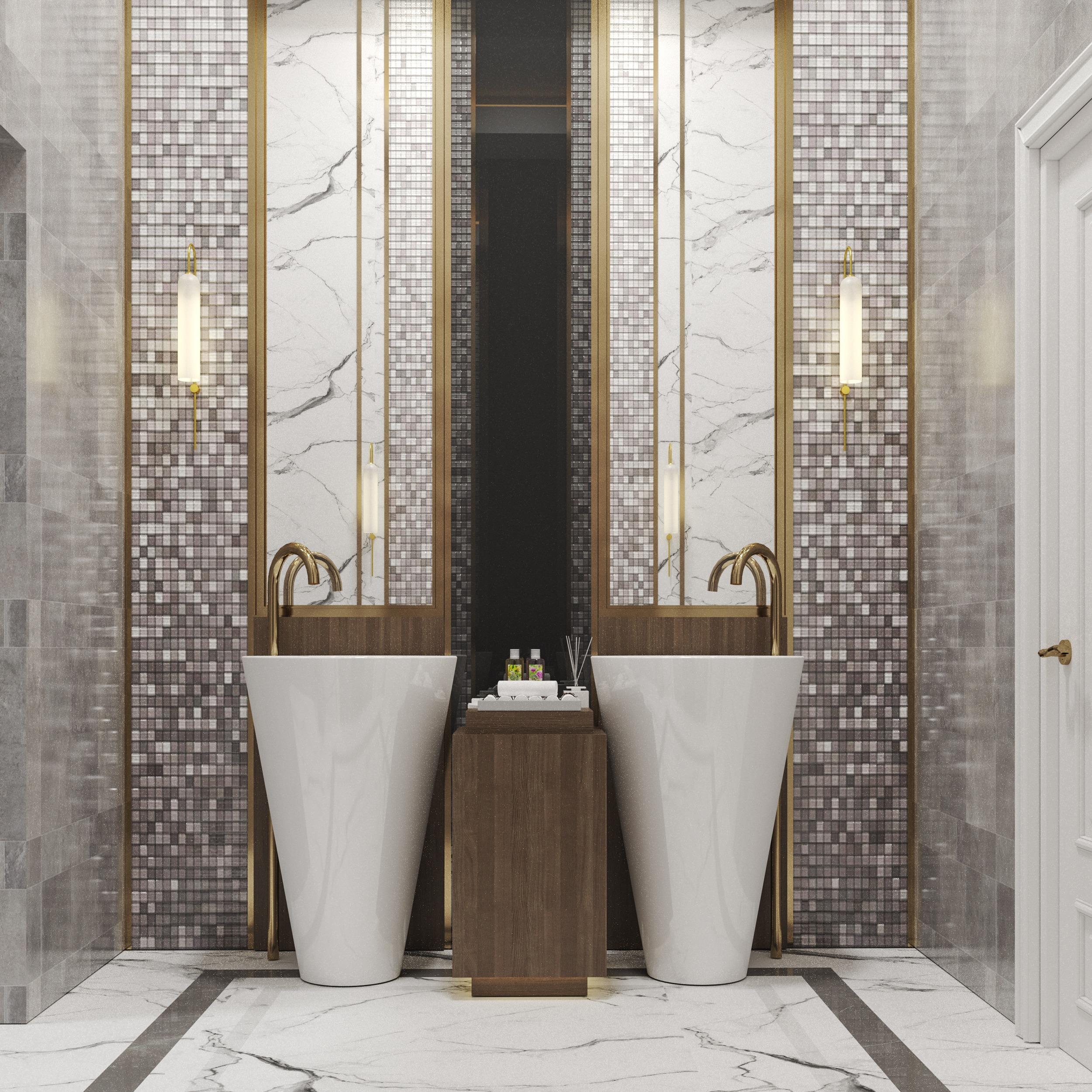 mirror - golden - marble