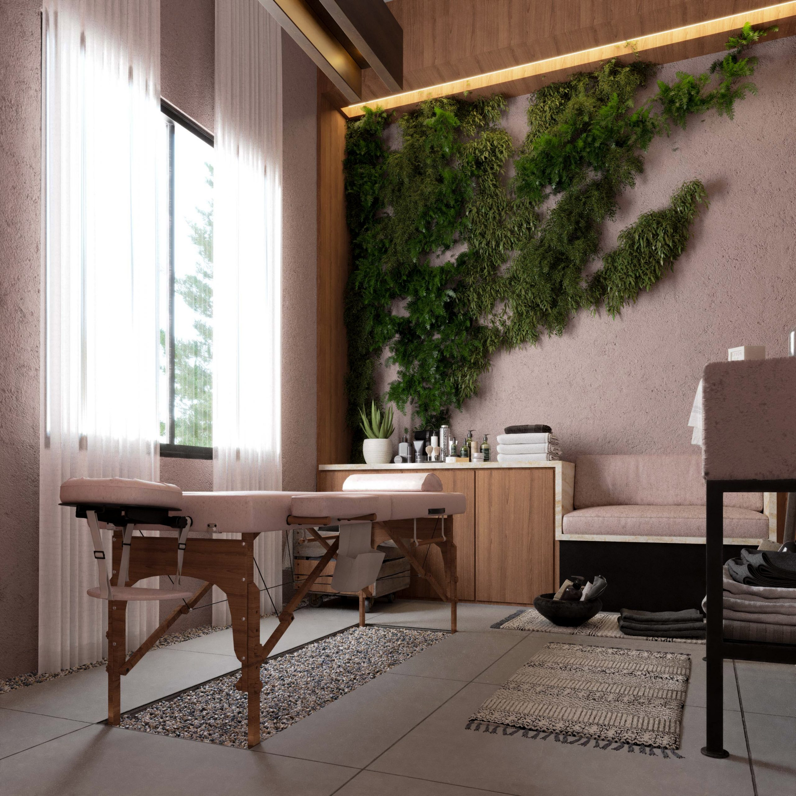 massage section - spa - ocean spa - plants