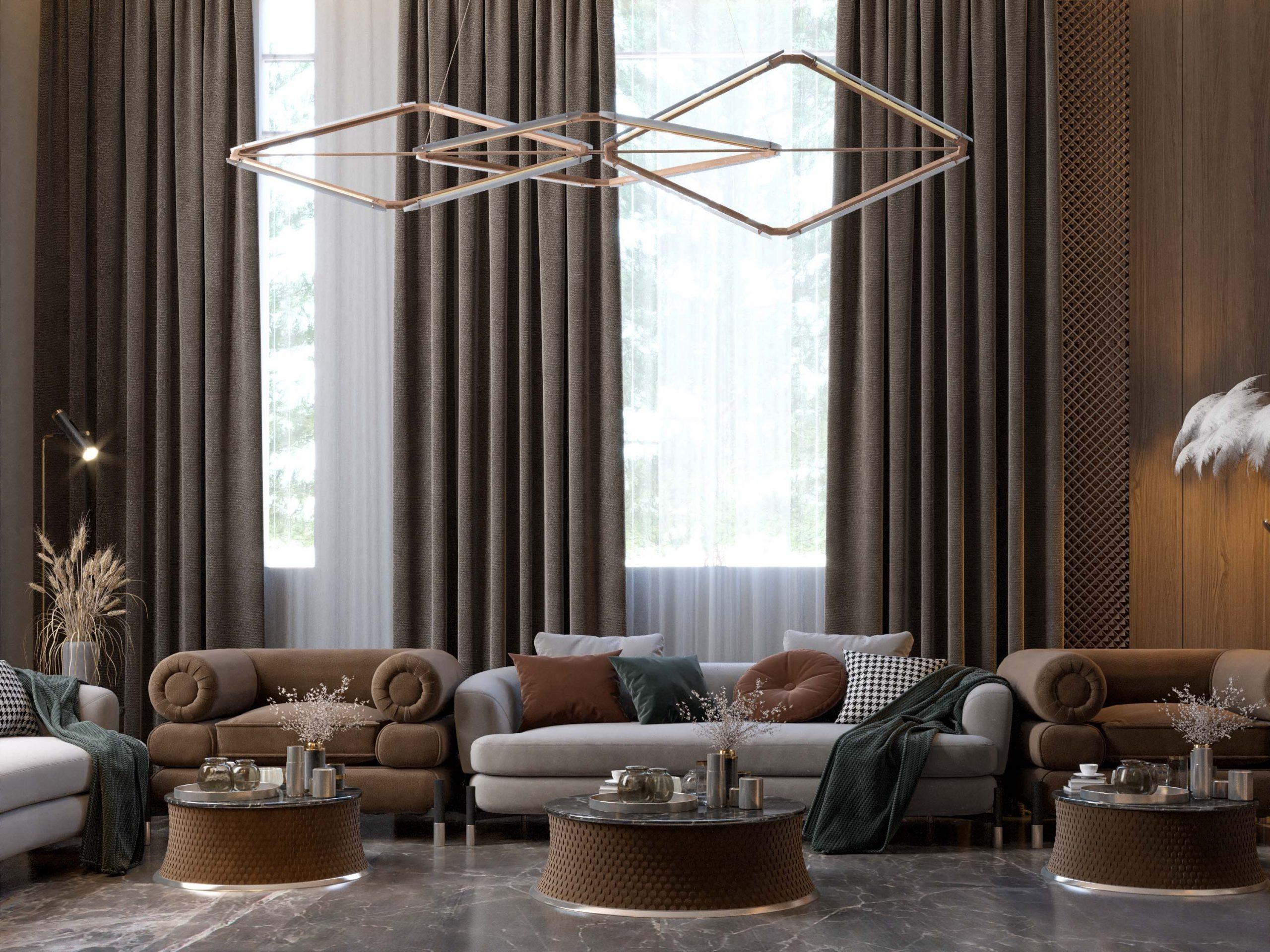 sofas - ELEGANT WOMEN'S MAJLES- ceiling light - brown