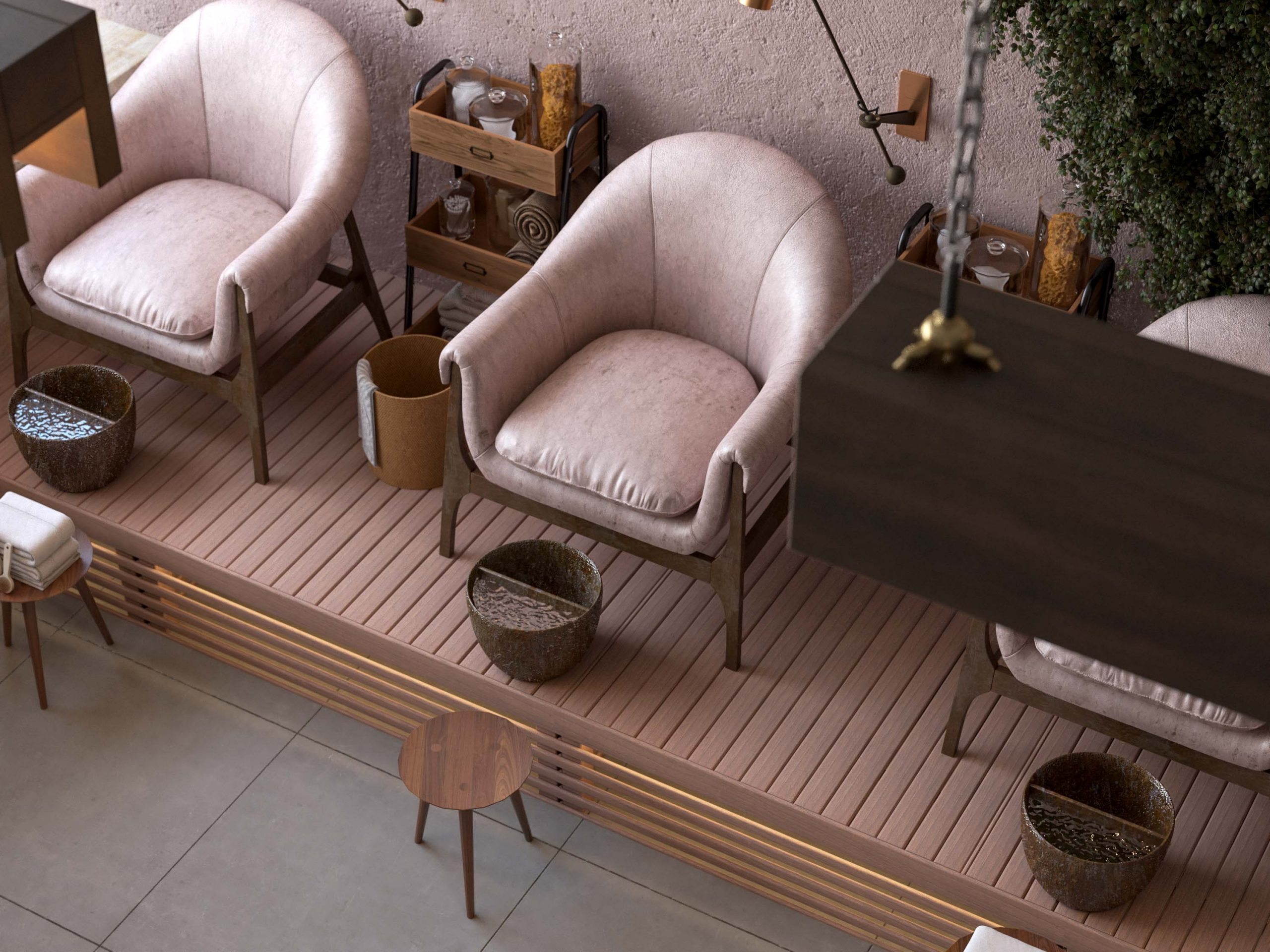 top view - ocean spa design - wood - nails