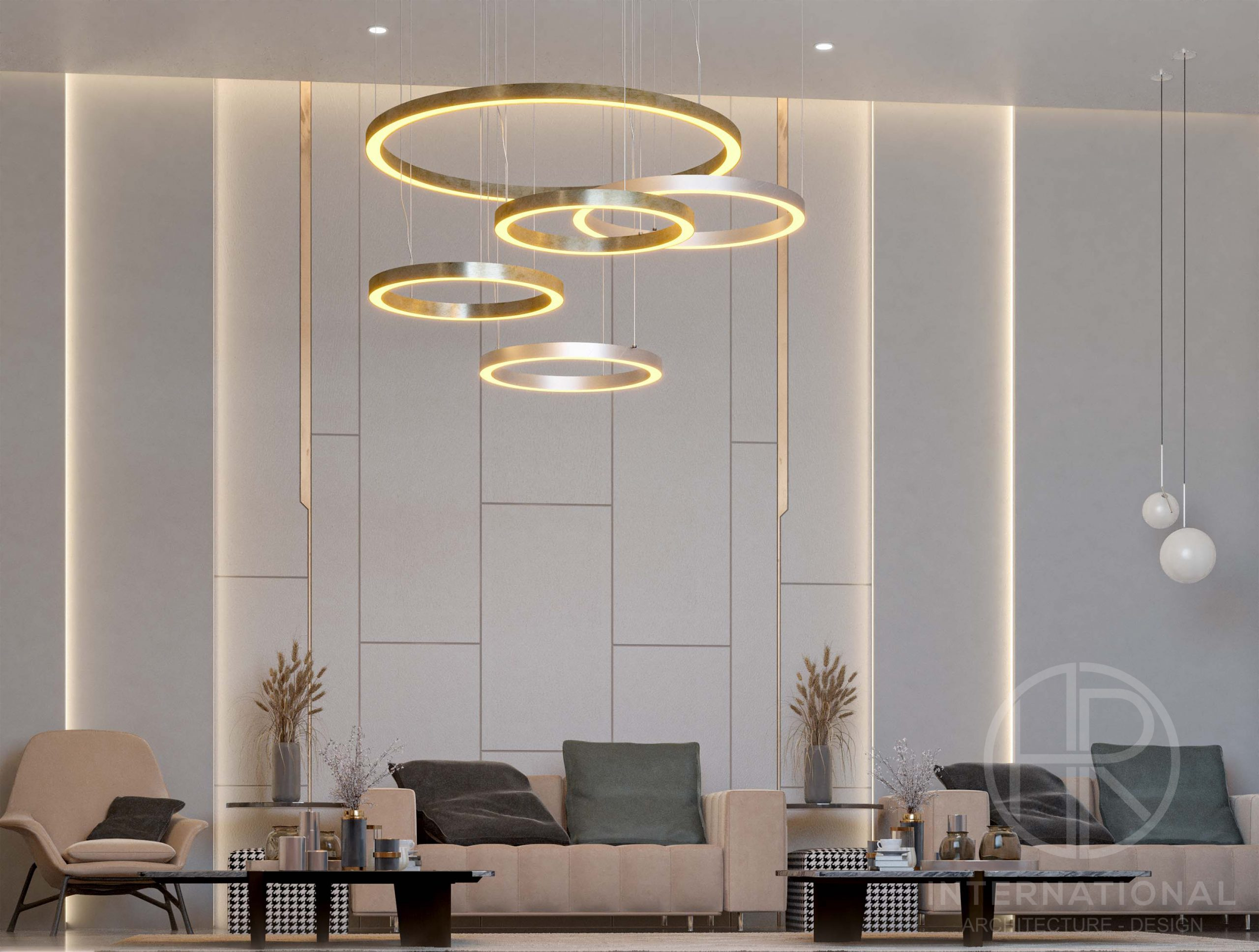 - golden wall design - plants - lighting work