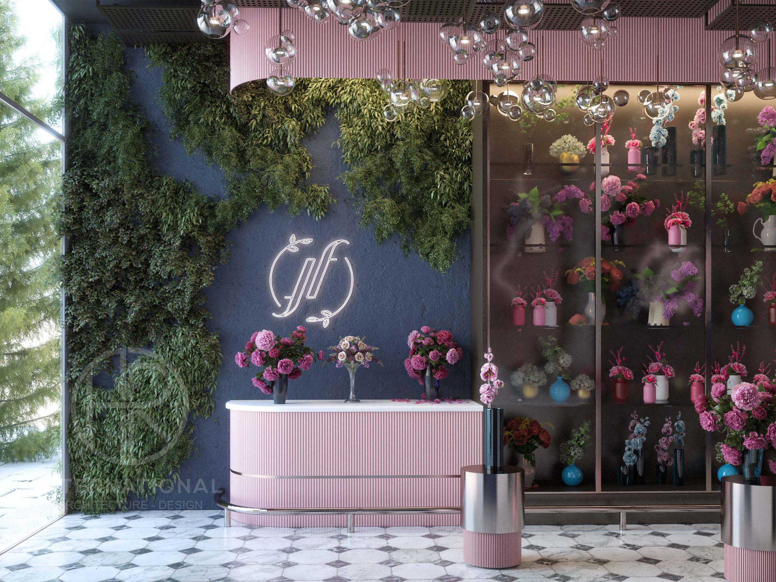 FLOUR & FLORET DESIGN - cake - design - flowers - blue - pink