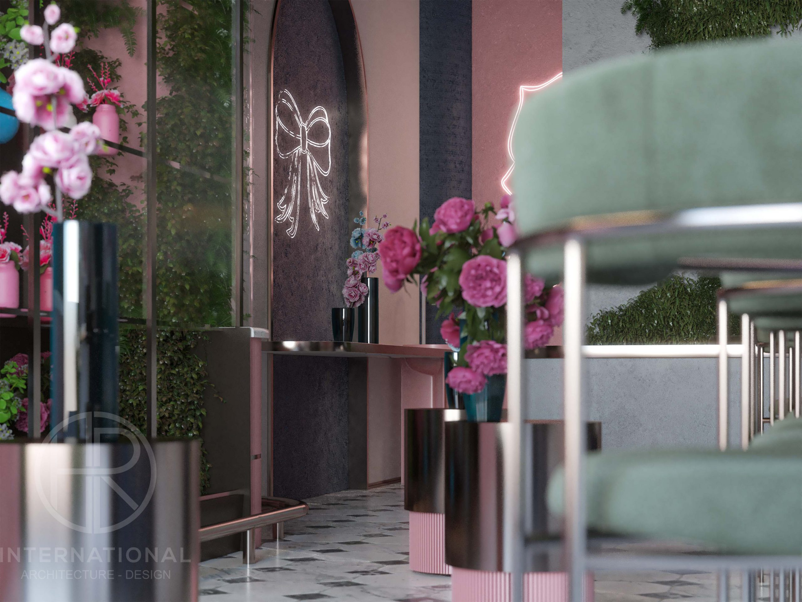 chairs - floret - flowers - green -