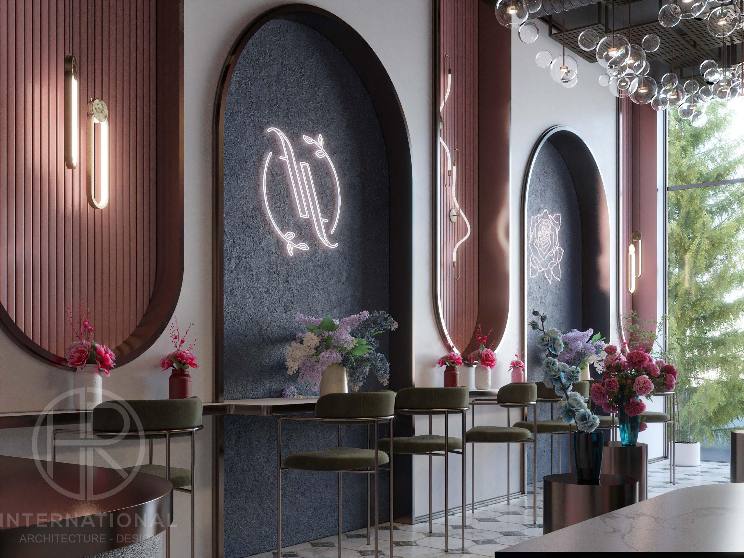 FLOUR & FLORET DESIGN - flowers - pink - blue - light work - bar