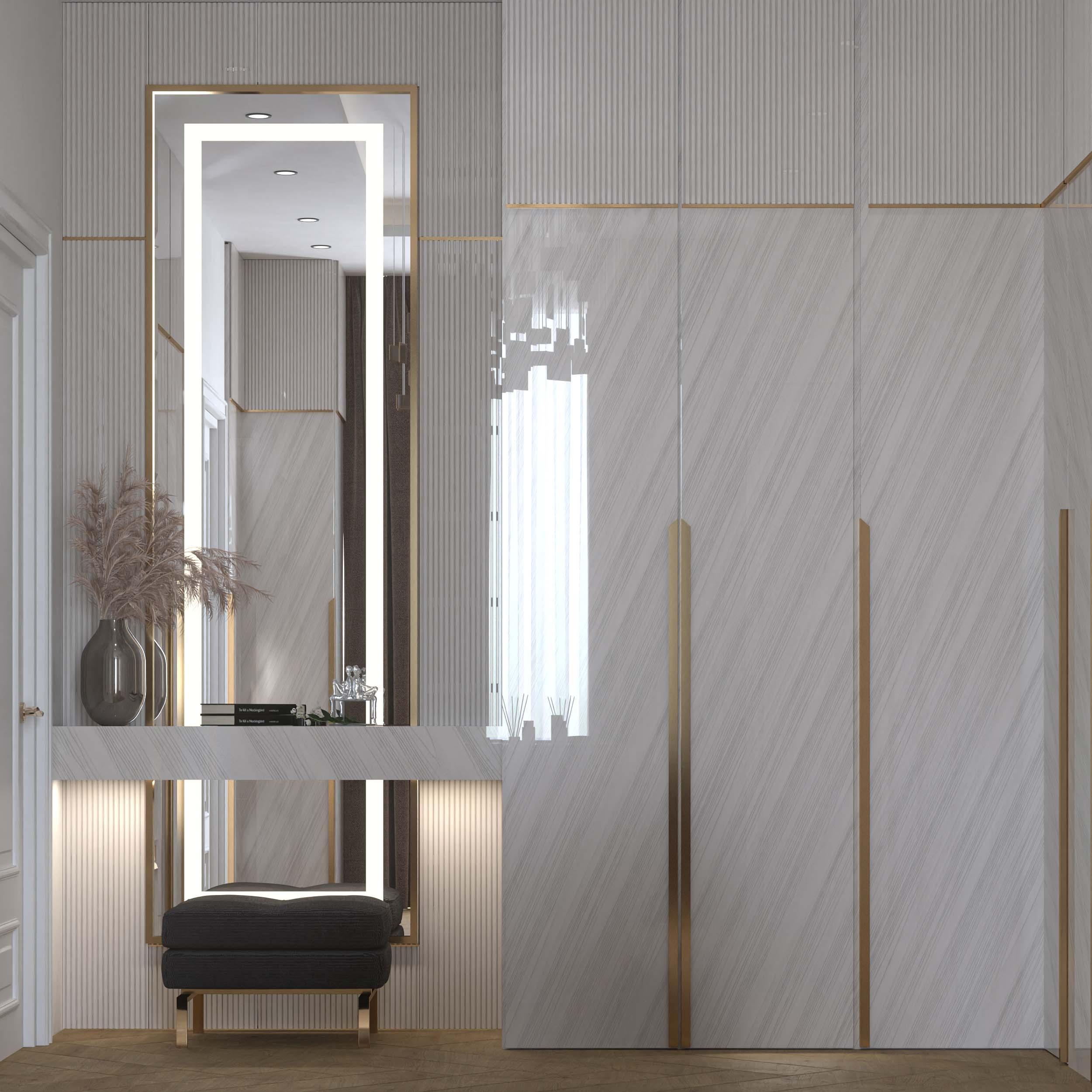 mirror design - white - golden lines - dressing rooms designs