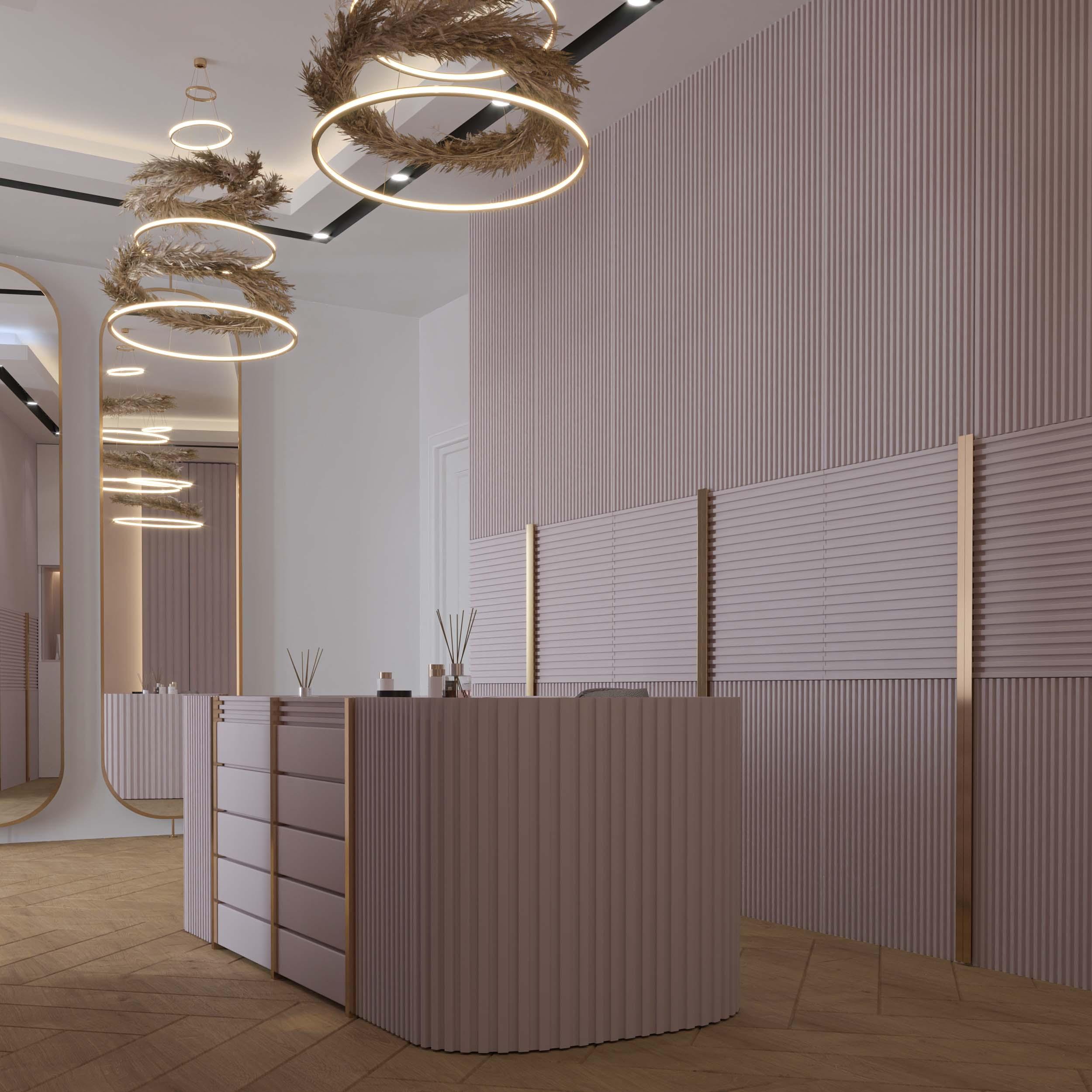 pink - dressing room designs - golden lines