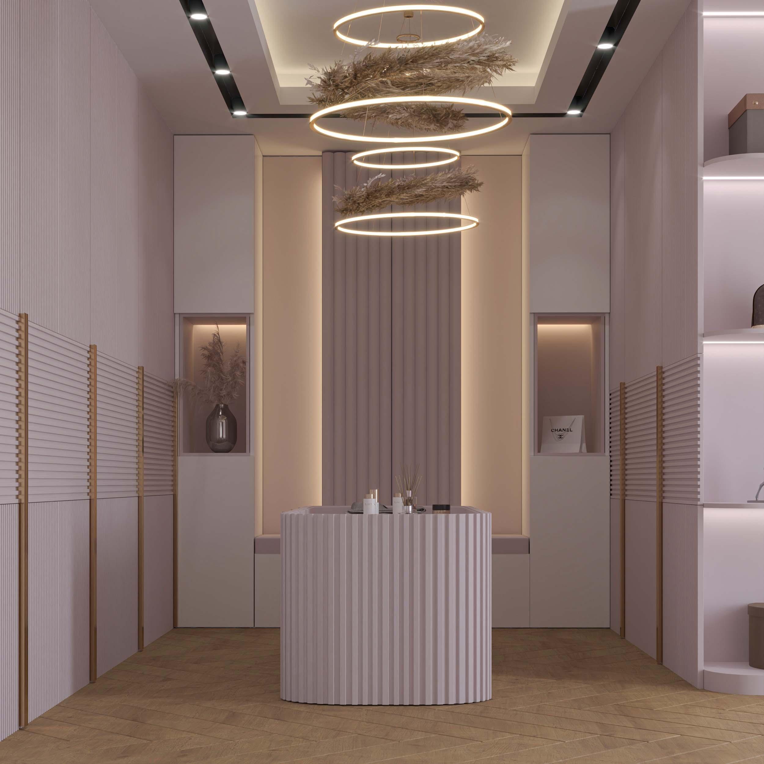 dressing room designs - pink - gold