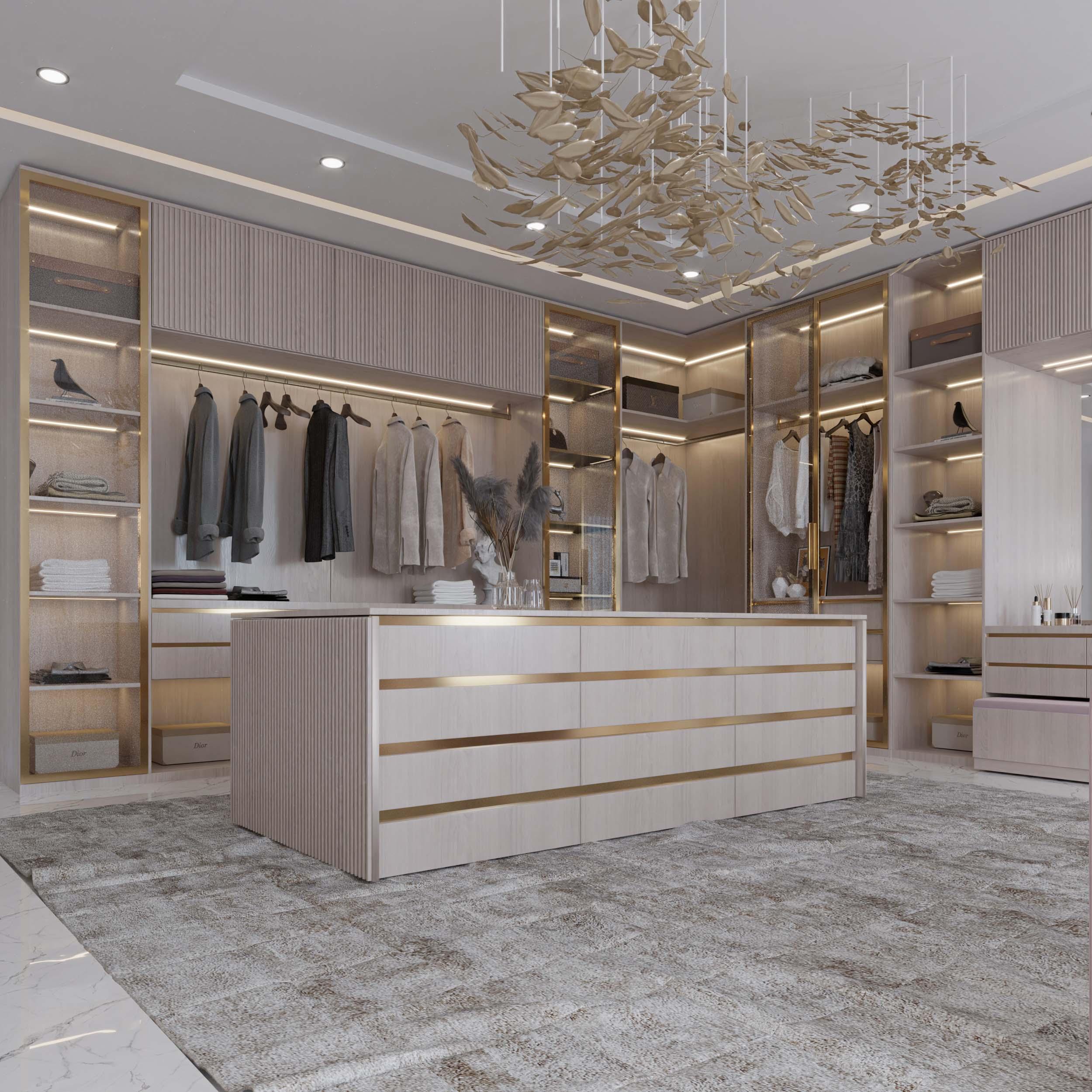 dressing room designs - golden details